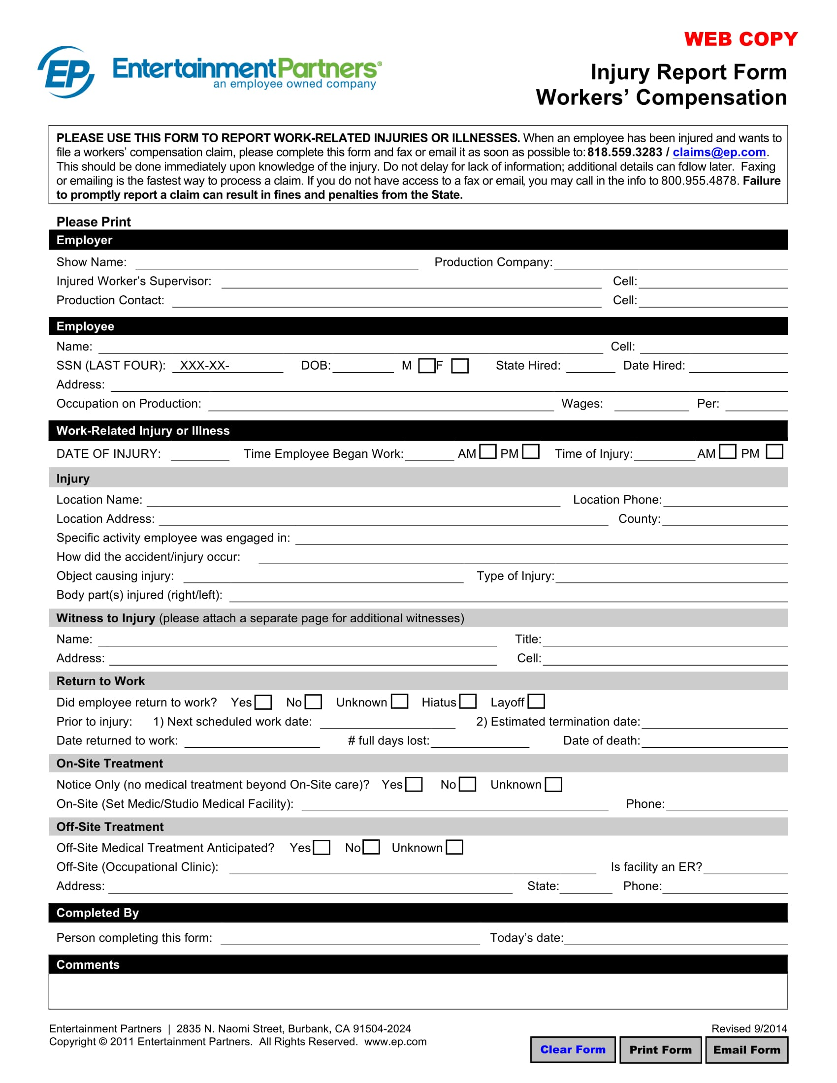 injury report form – worker's compensation 1