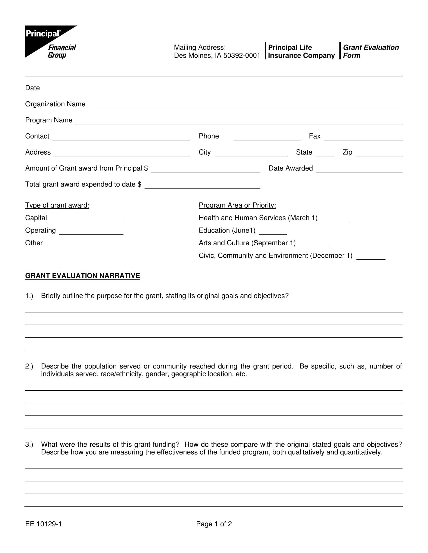 insurance grant evaluation form 1
