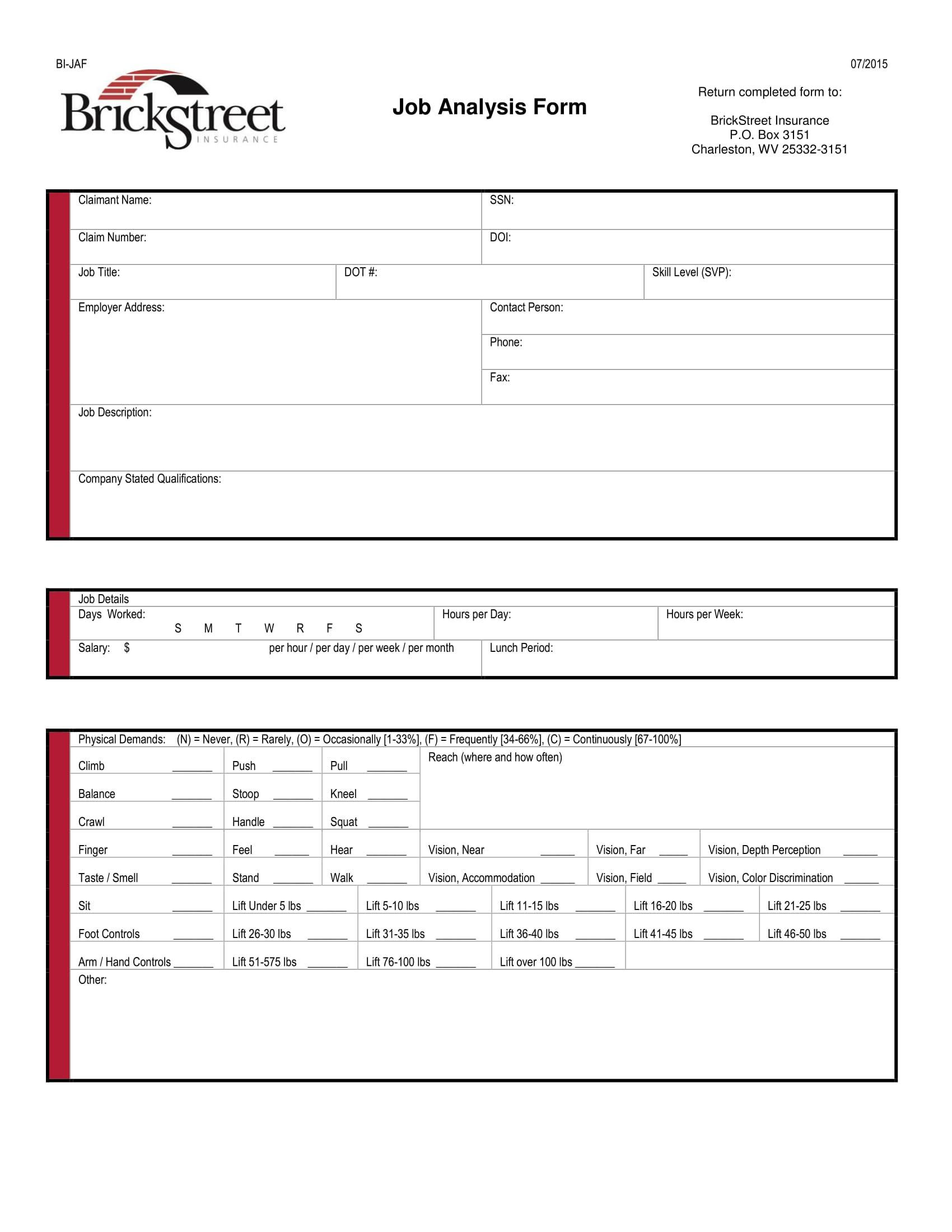 insurance job analysis form 1
