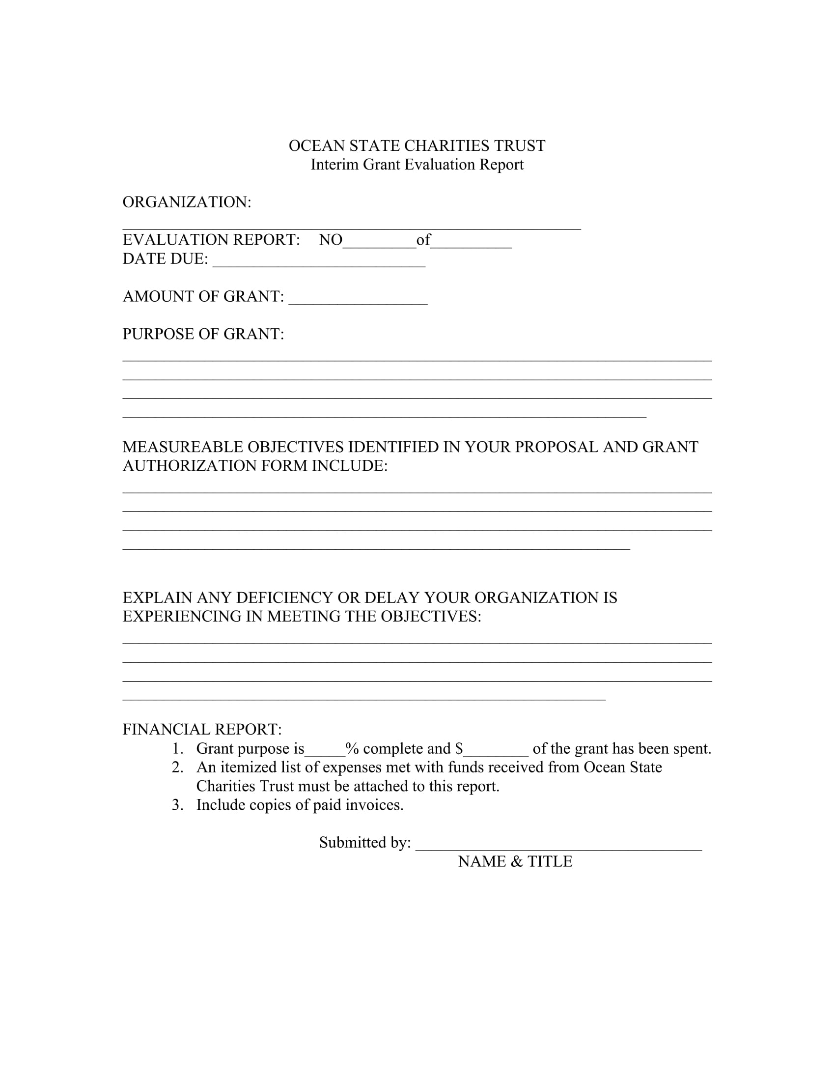 14 Grant Evaluation Forms Free PDF Format Download – Grant Report Form