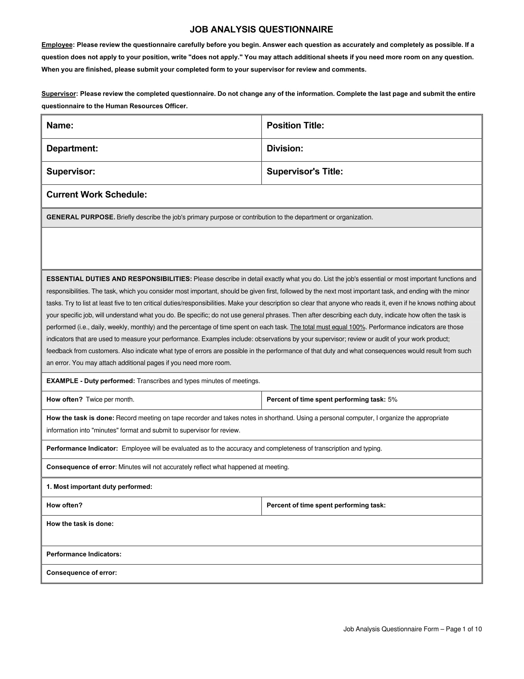 job analysis questionnaire form 01