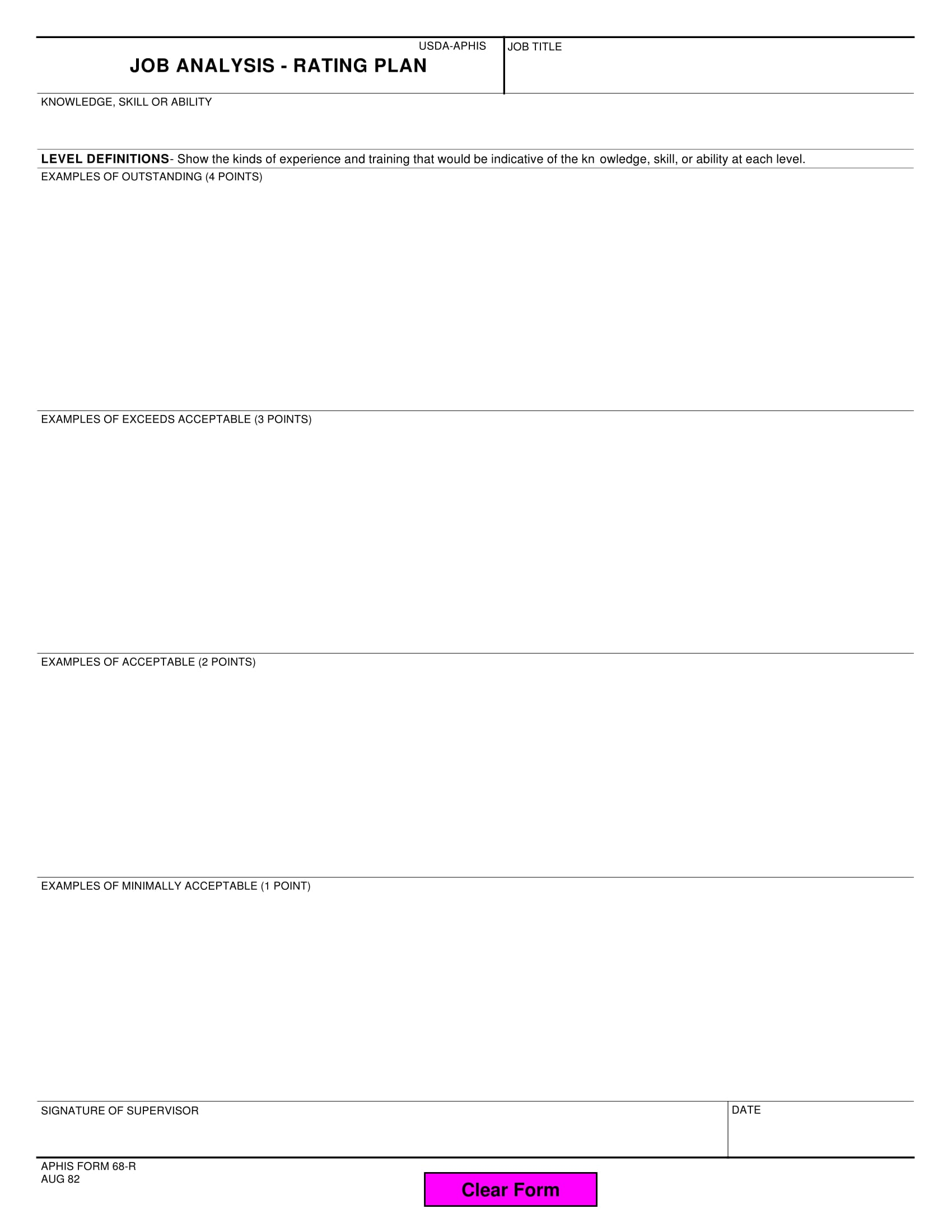 job analysis rating plan form 1