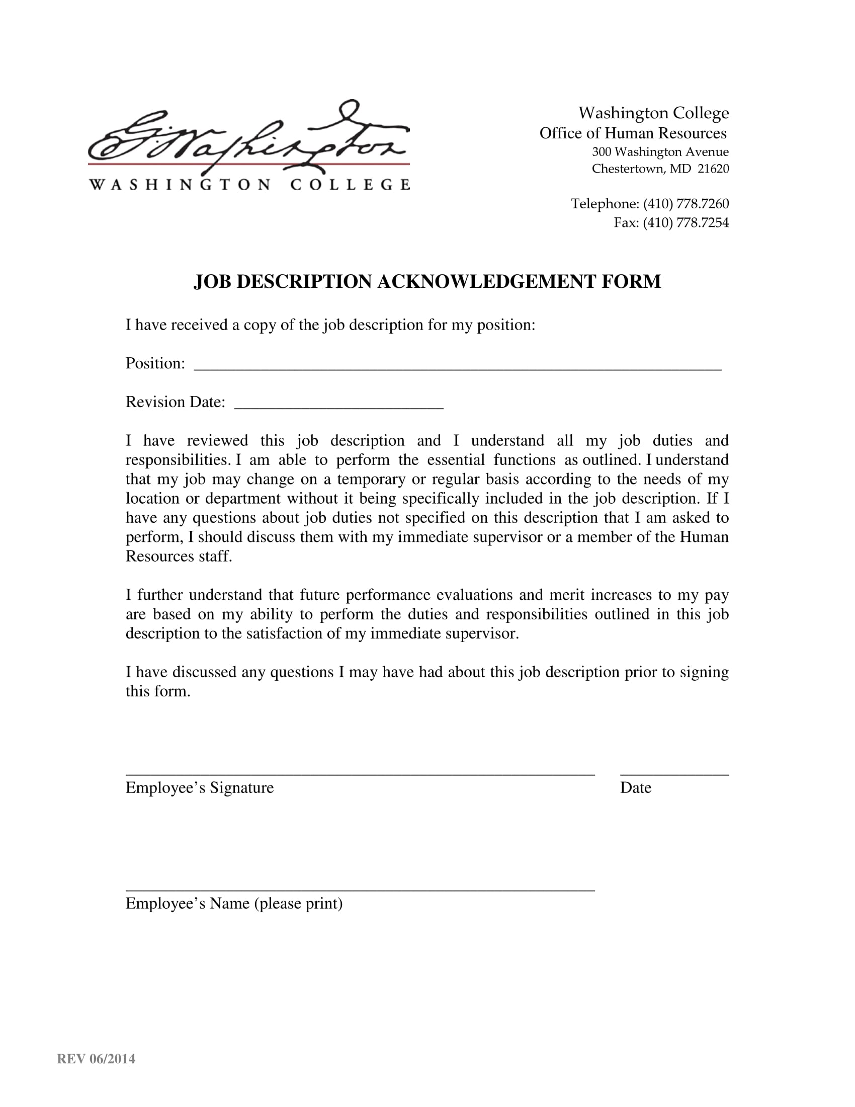 job description acknowledgement form 1