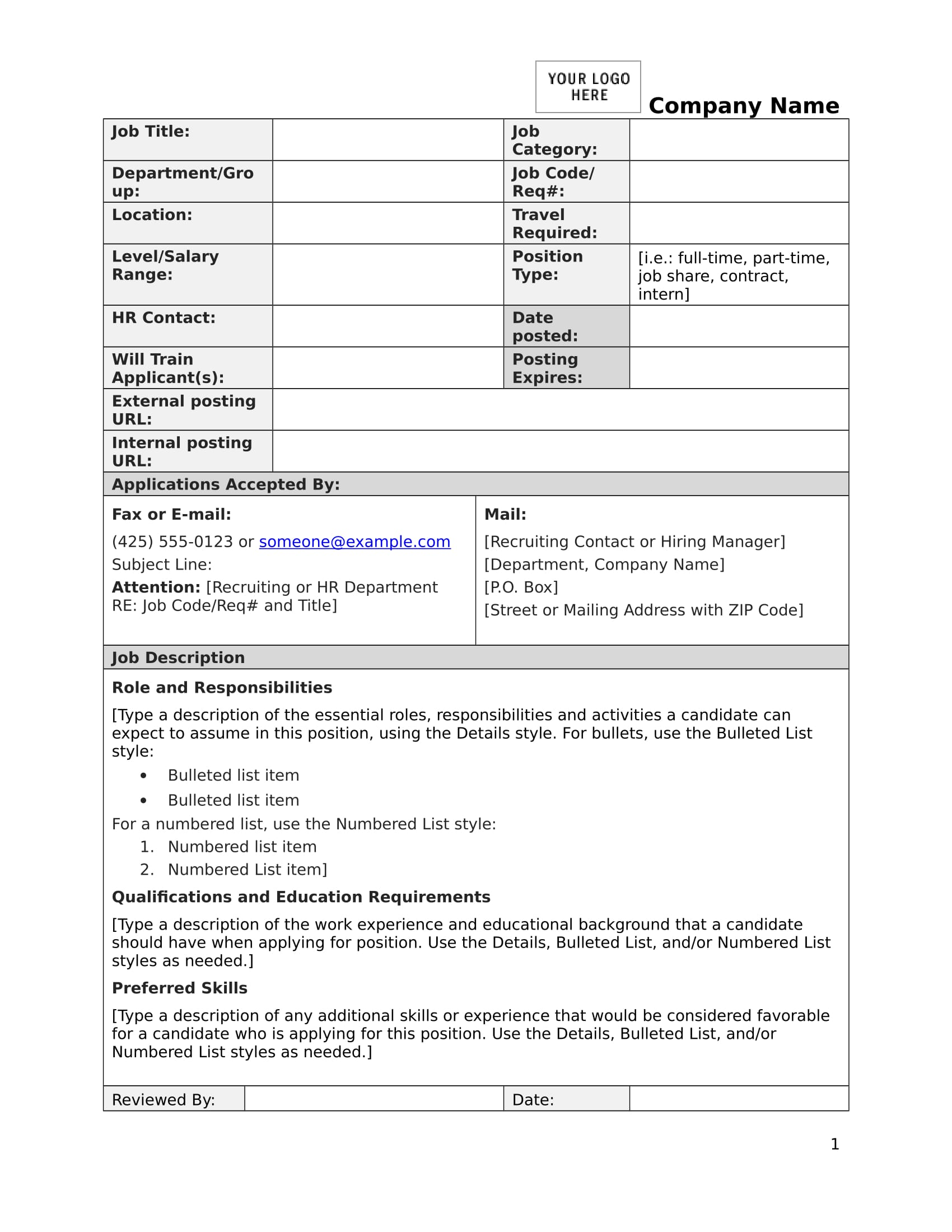 job description form sample 1