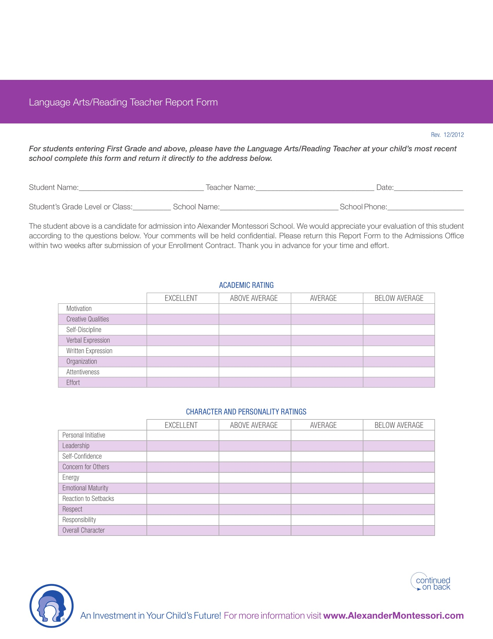 language or reading teacher report form 1