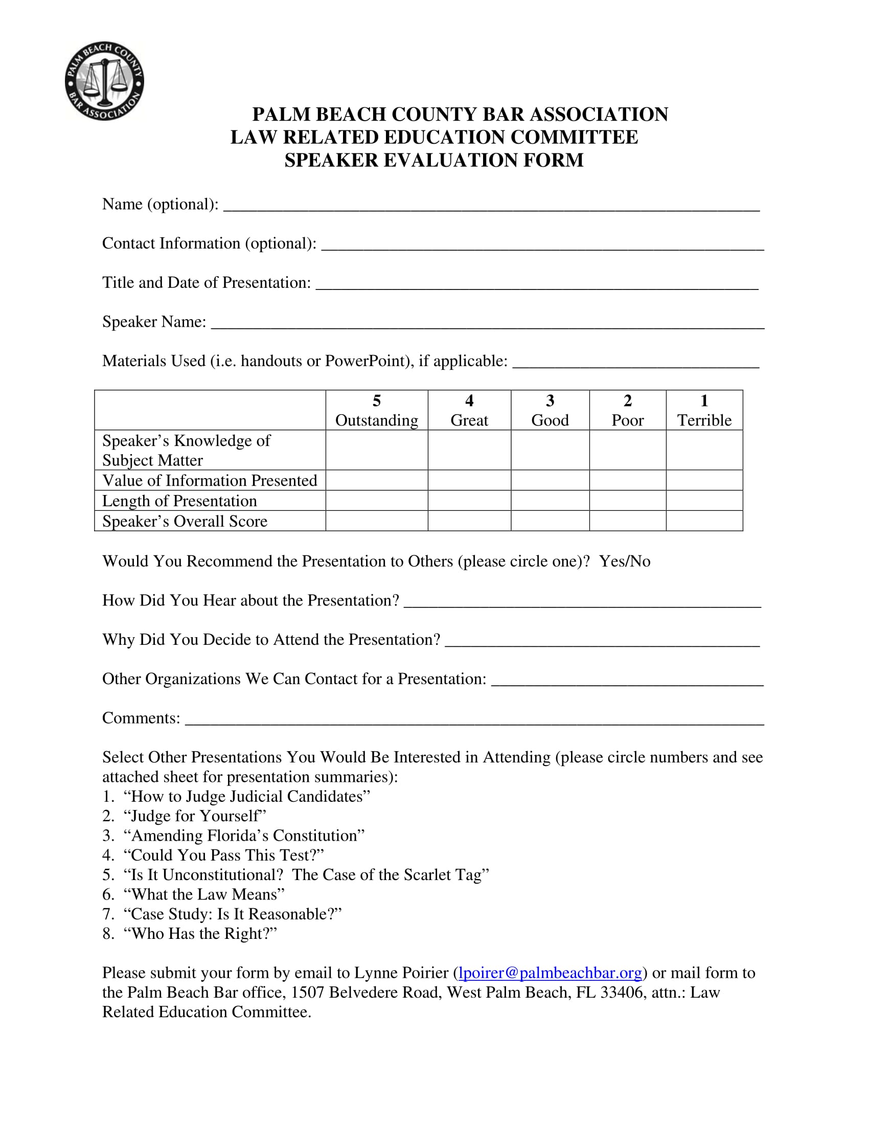 law committee speaker evaluation form 1