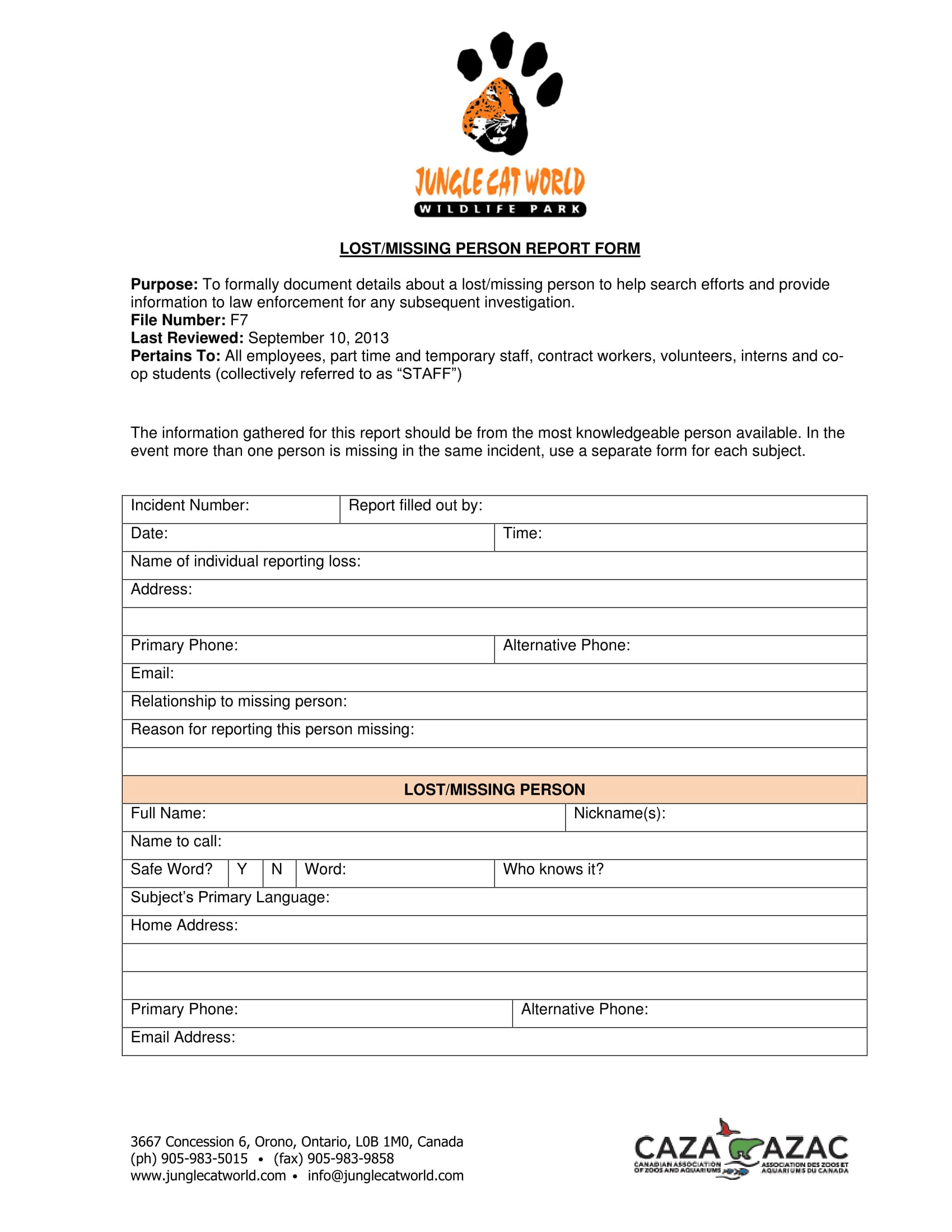 lost or missing report form 1