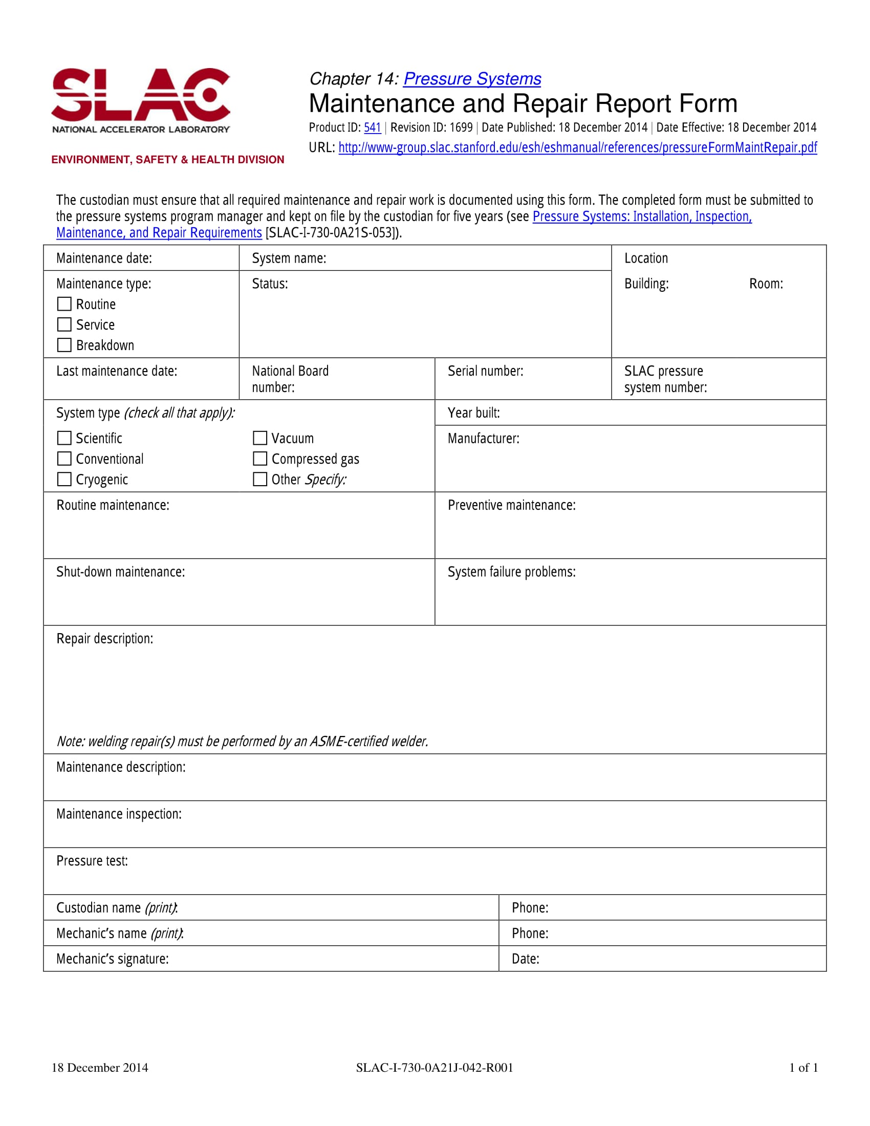 maintenance and repair service report form 1