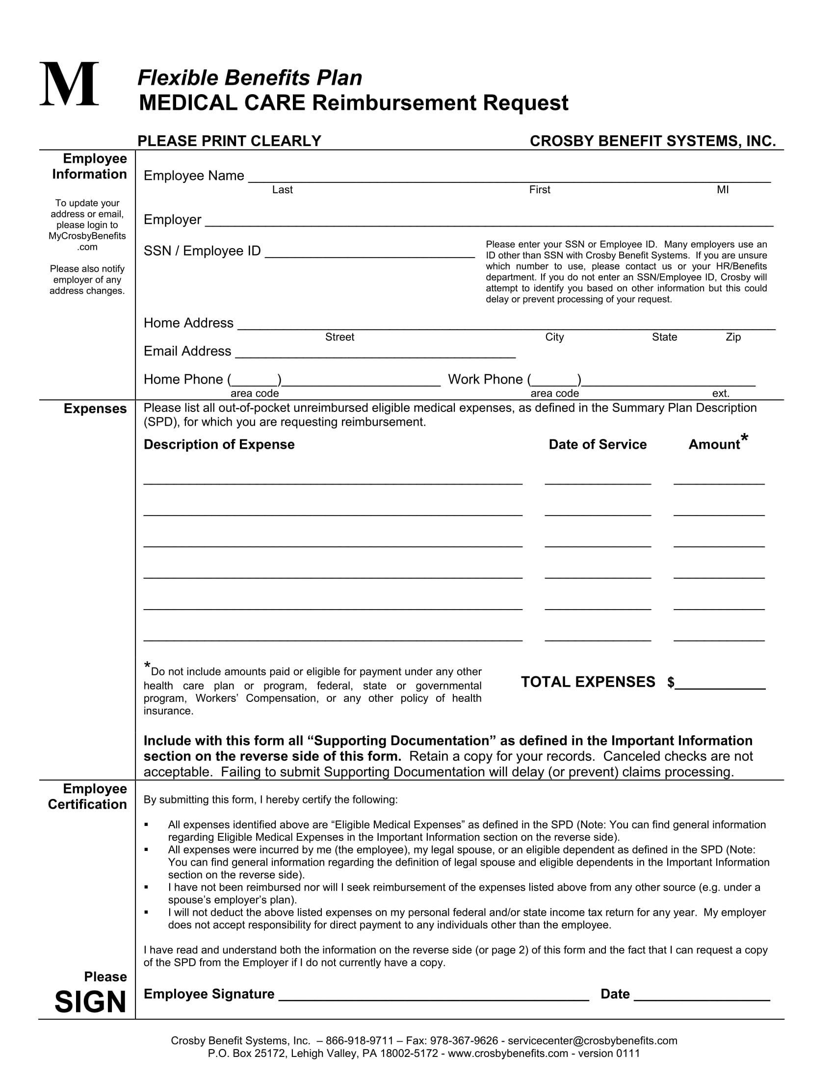 medical care reimbursement request form 1