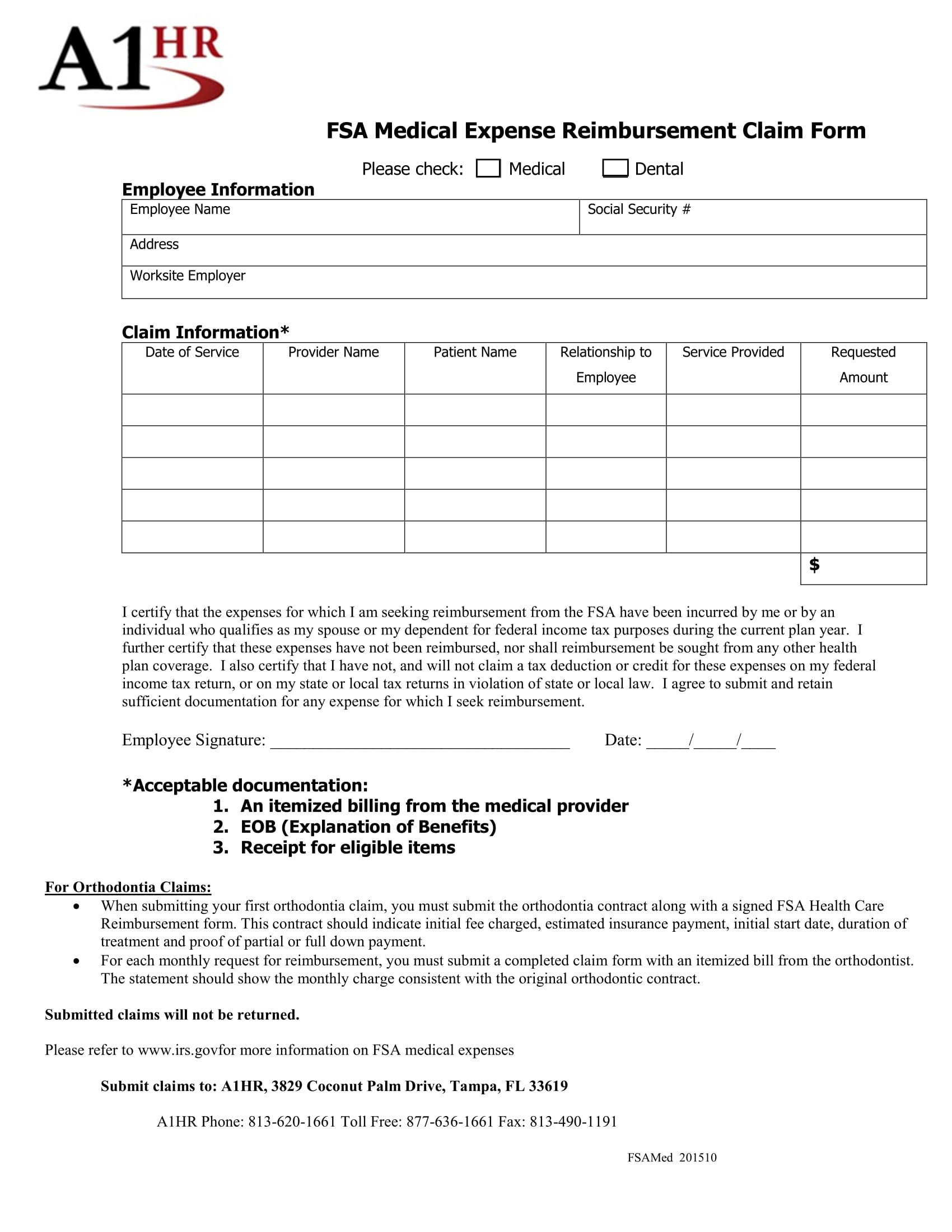 medical expense reimbursement claim form 1