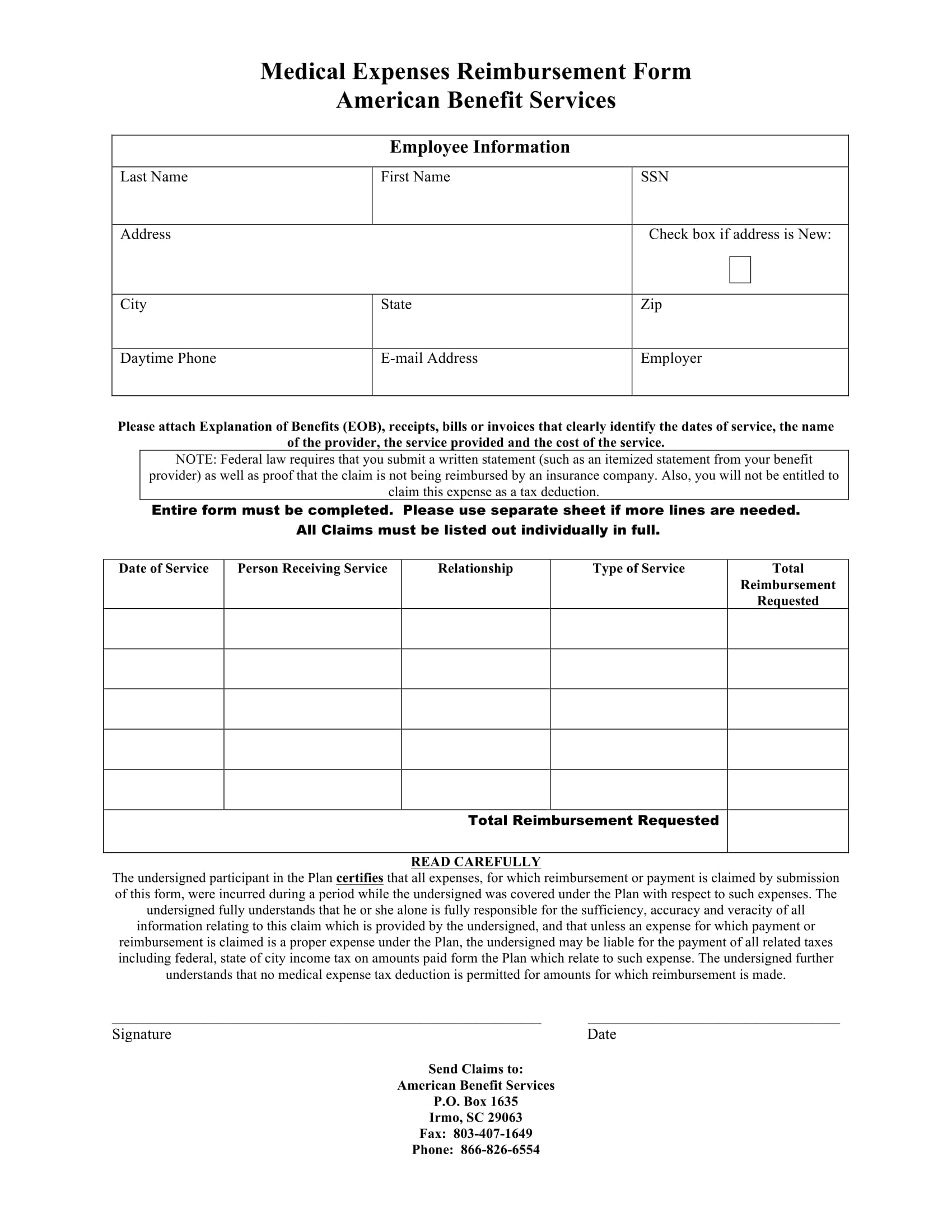 14 employee medical reimbursement forms. Black Bedroom Furniture Sets. Home Design Ideas