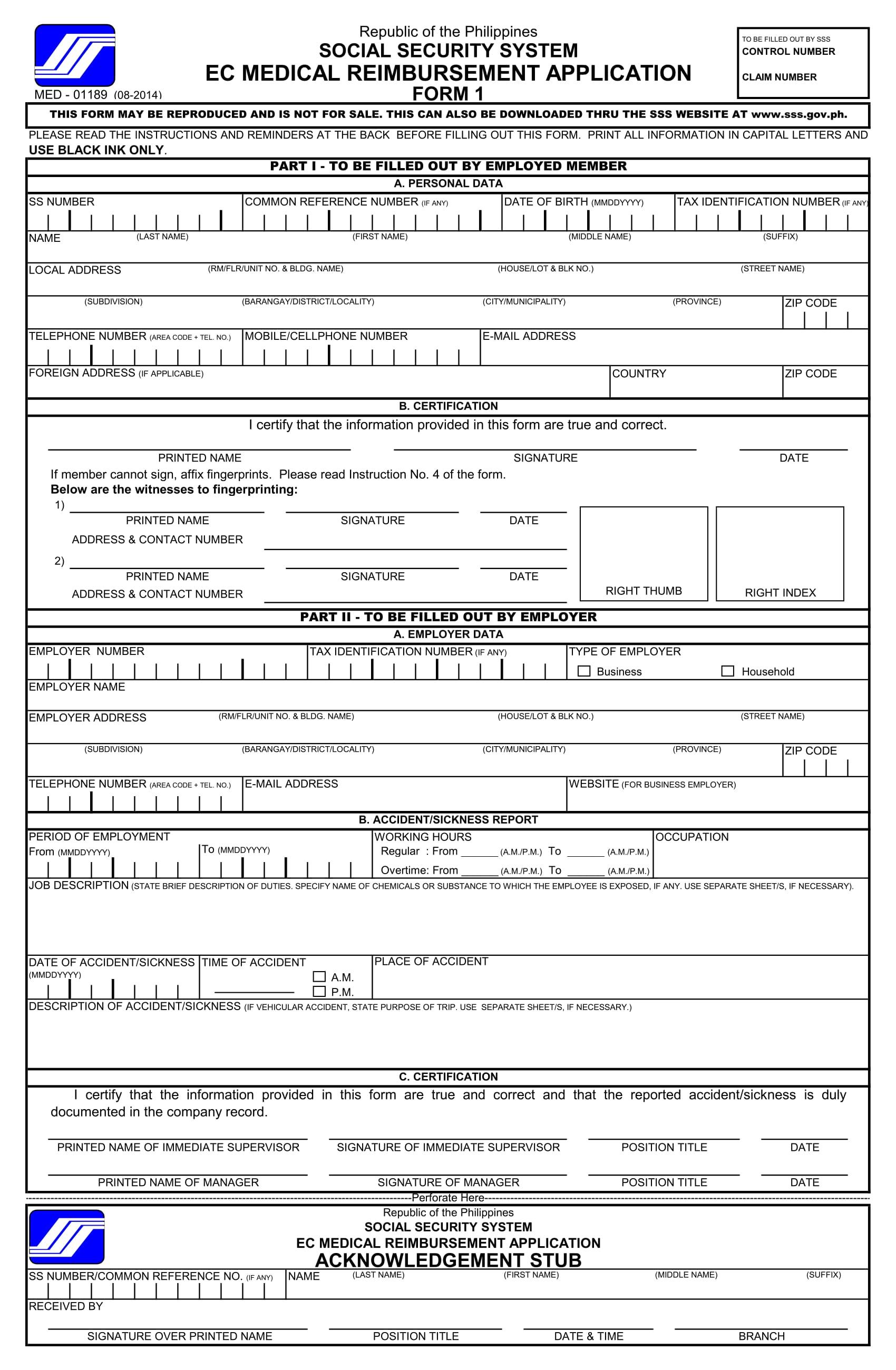 medical reimbursement application form 1
