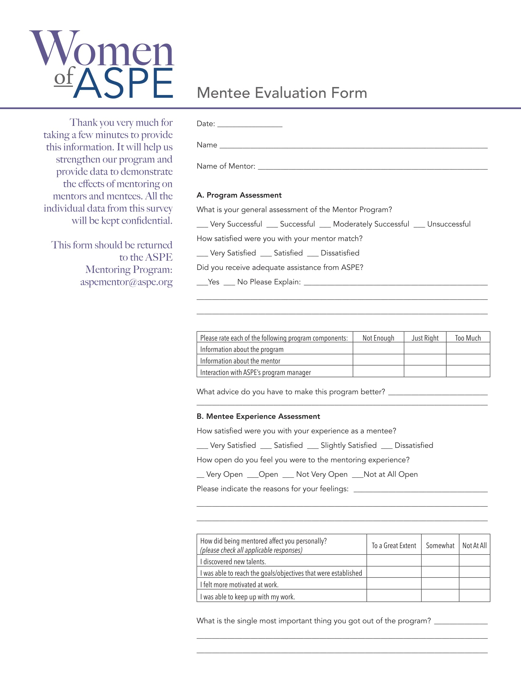 mentee assessment evaluation form 1