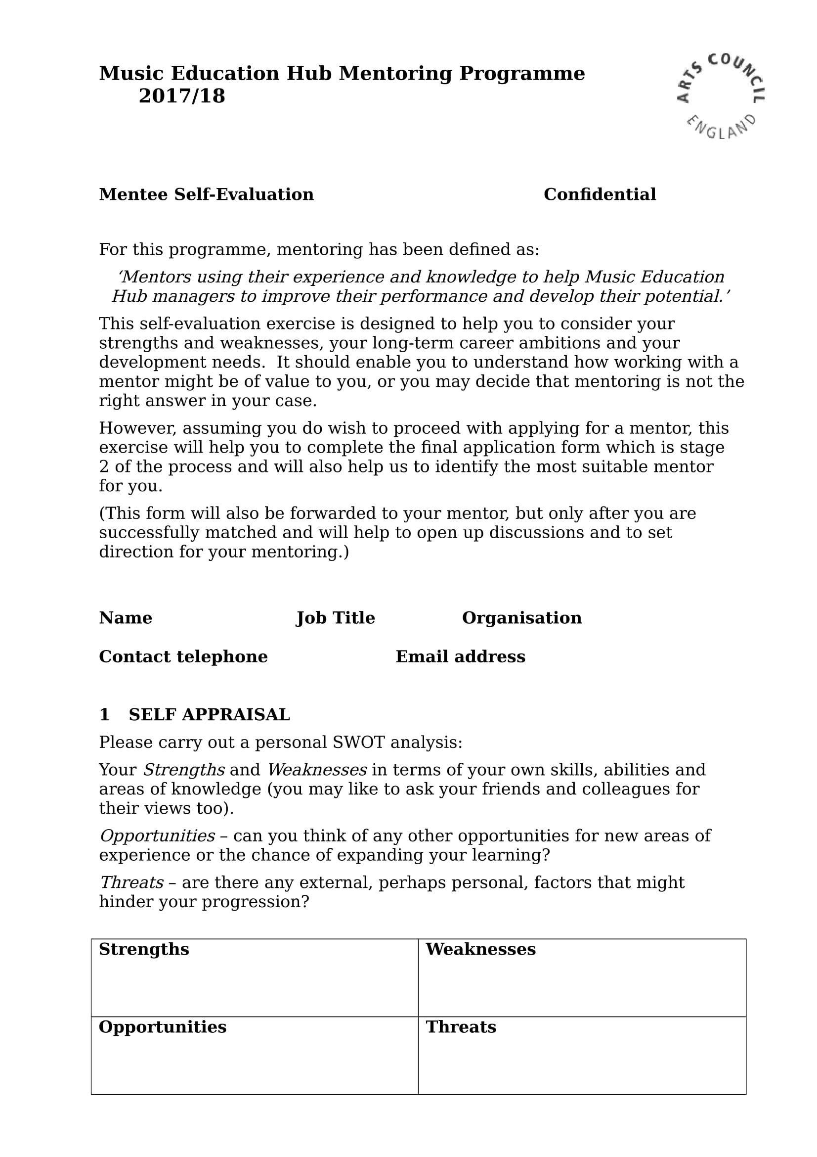 mentee self evaluation form 1