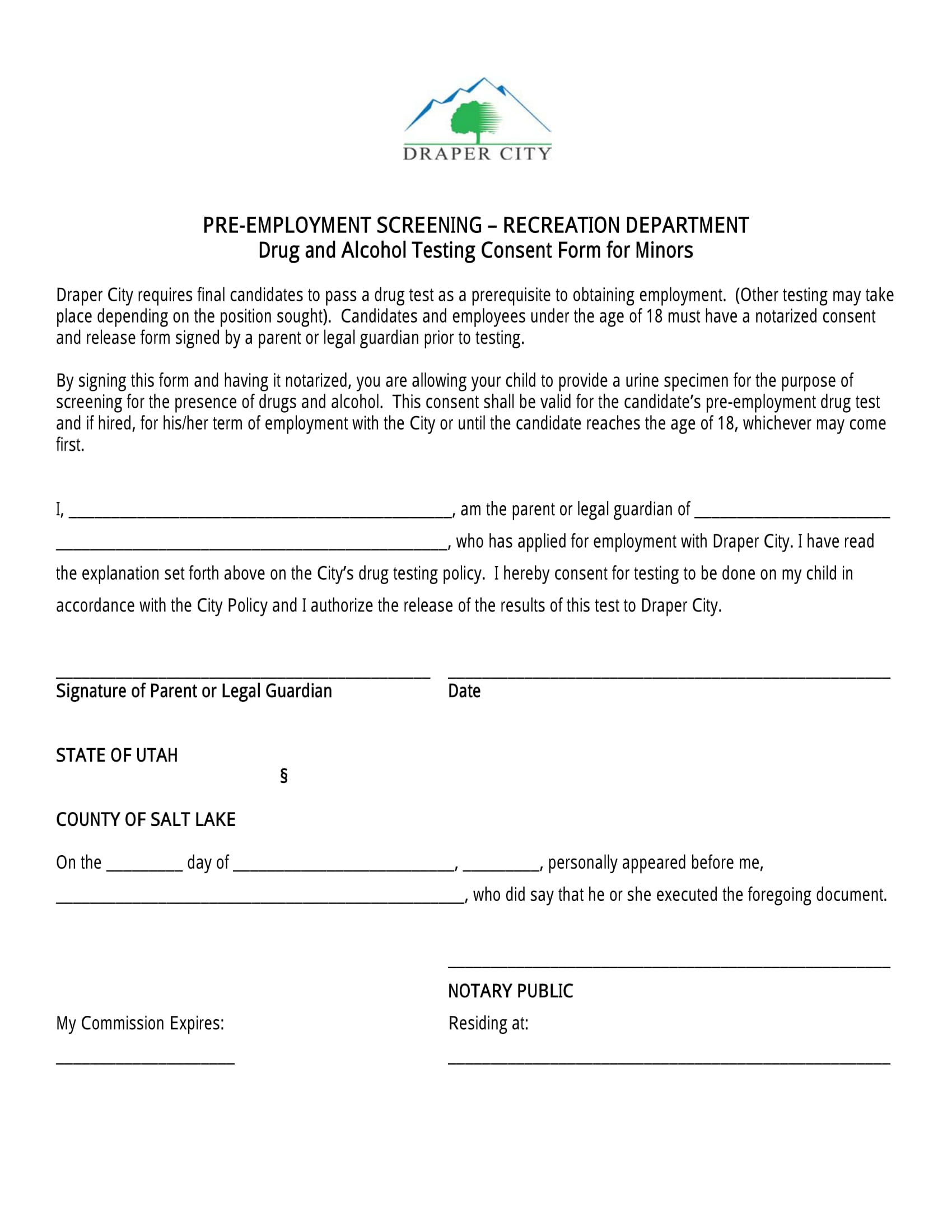minor employee drug test consent form 1