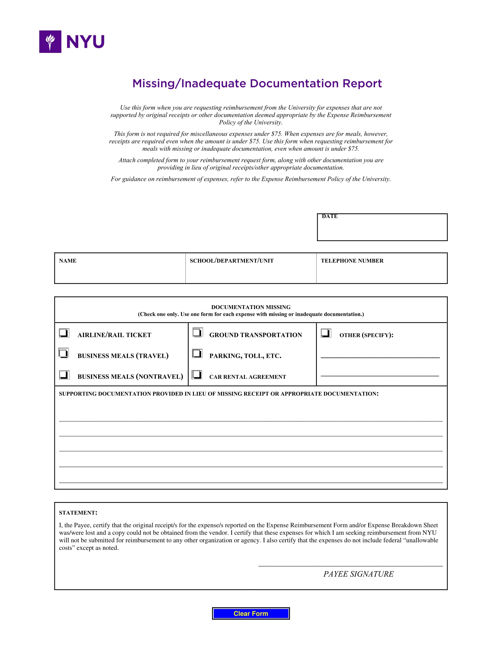 missing documentation report form 1