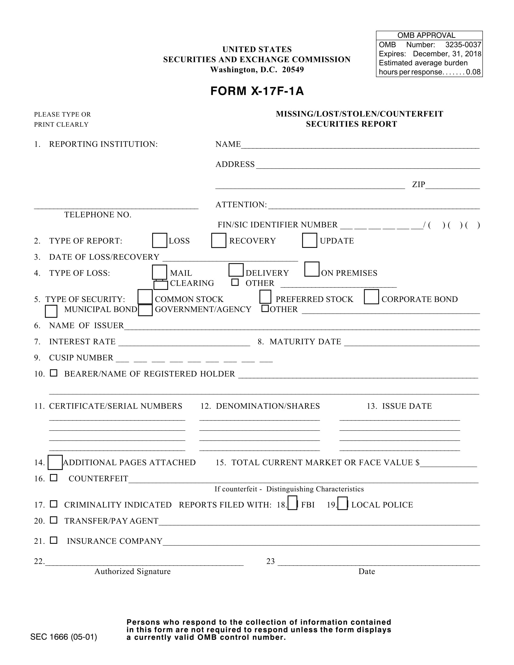 missing securities report form 1