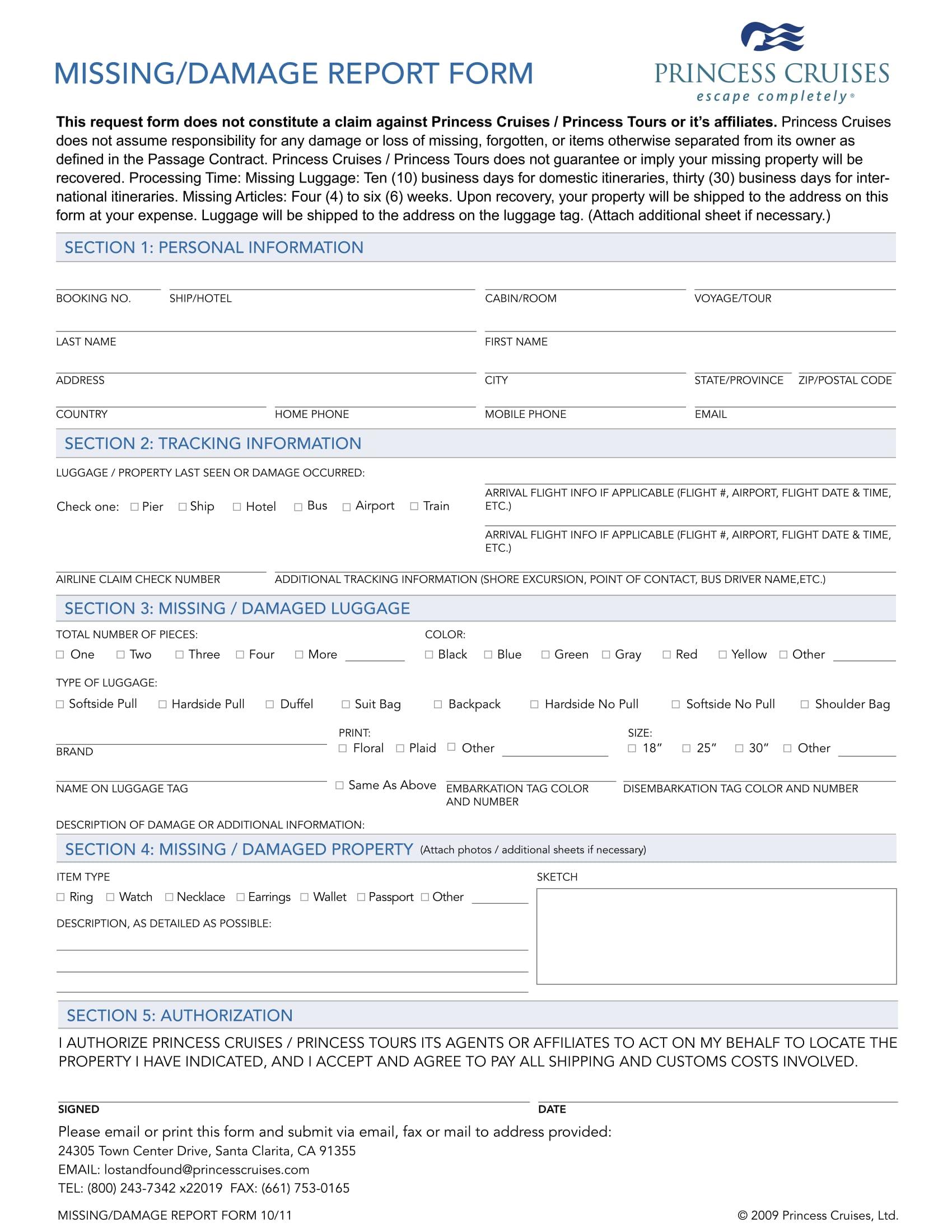 missing or damage report form 1