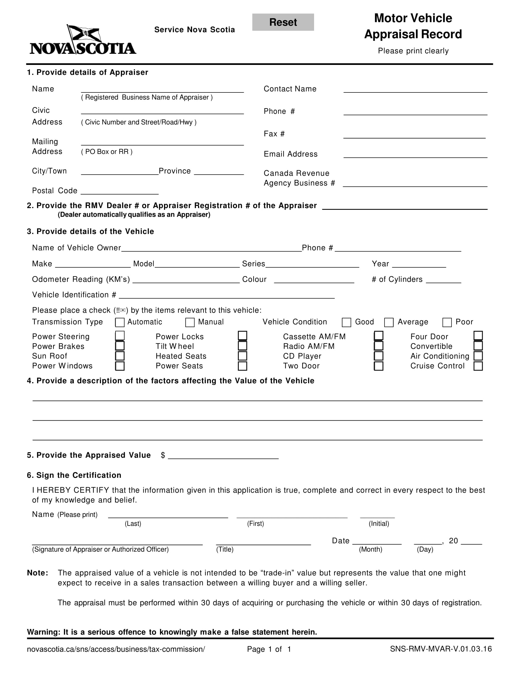 motor vehicle appraisal evaluation form 1
