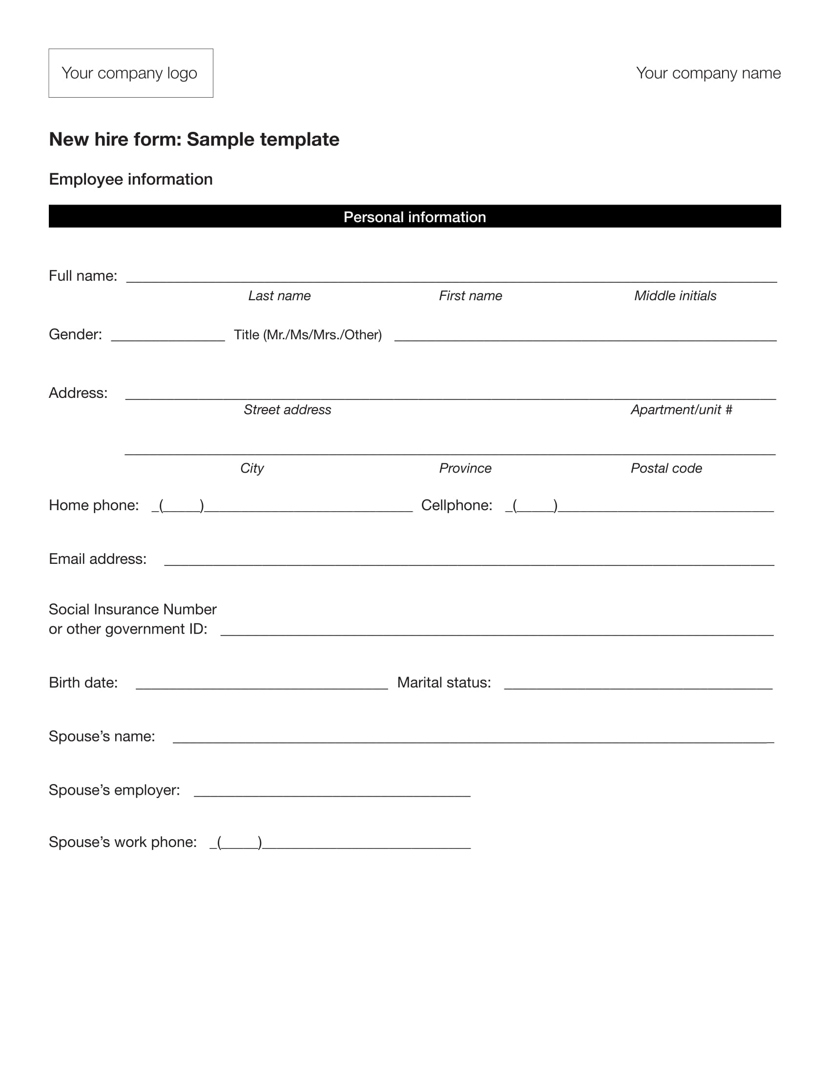 new hire employee information form sample 1