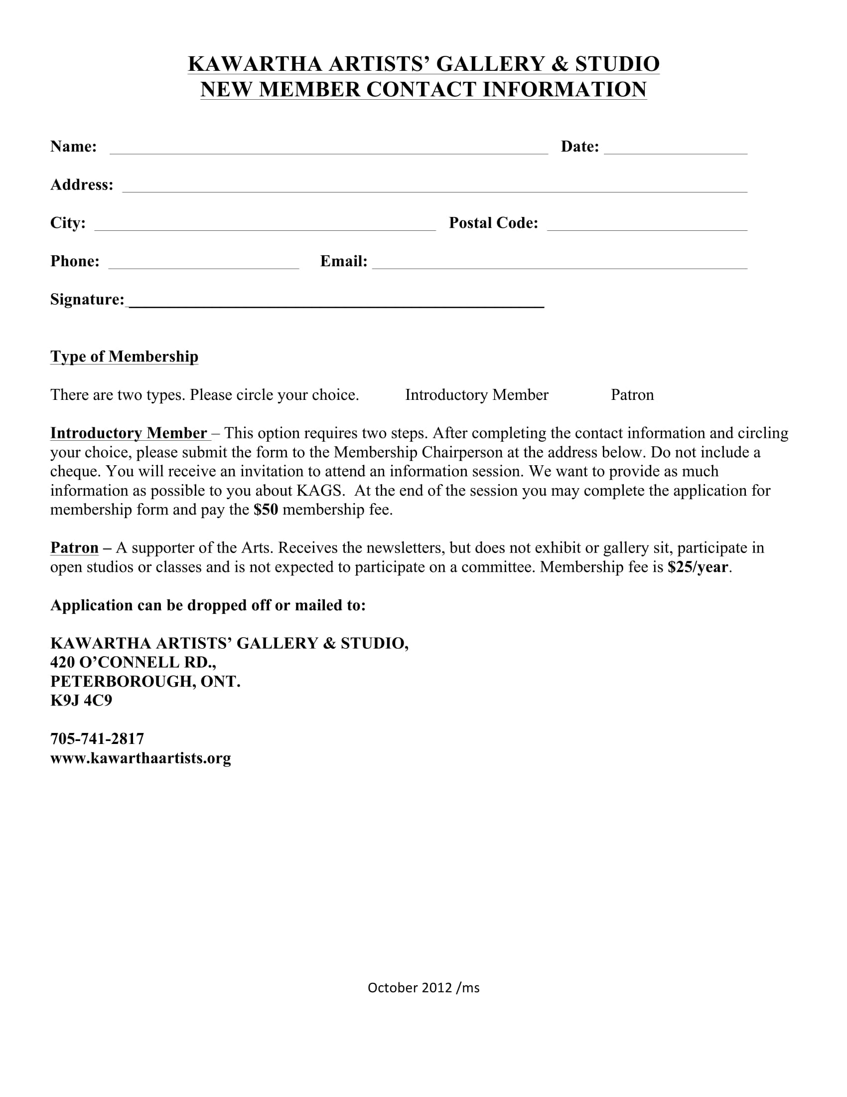 new member contact information form 1