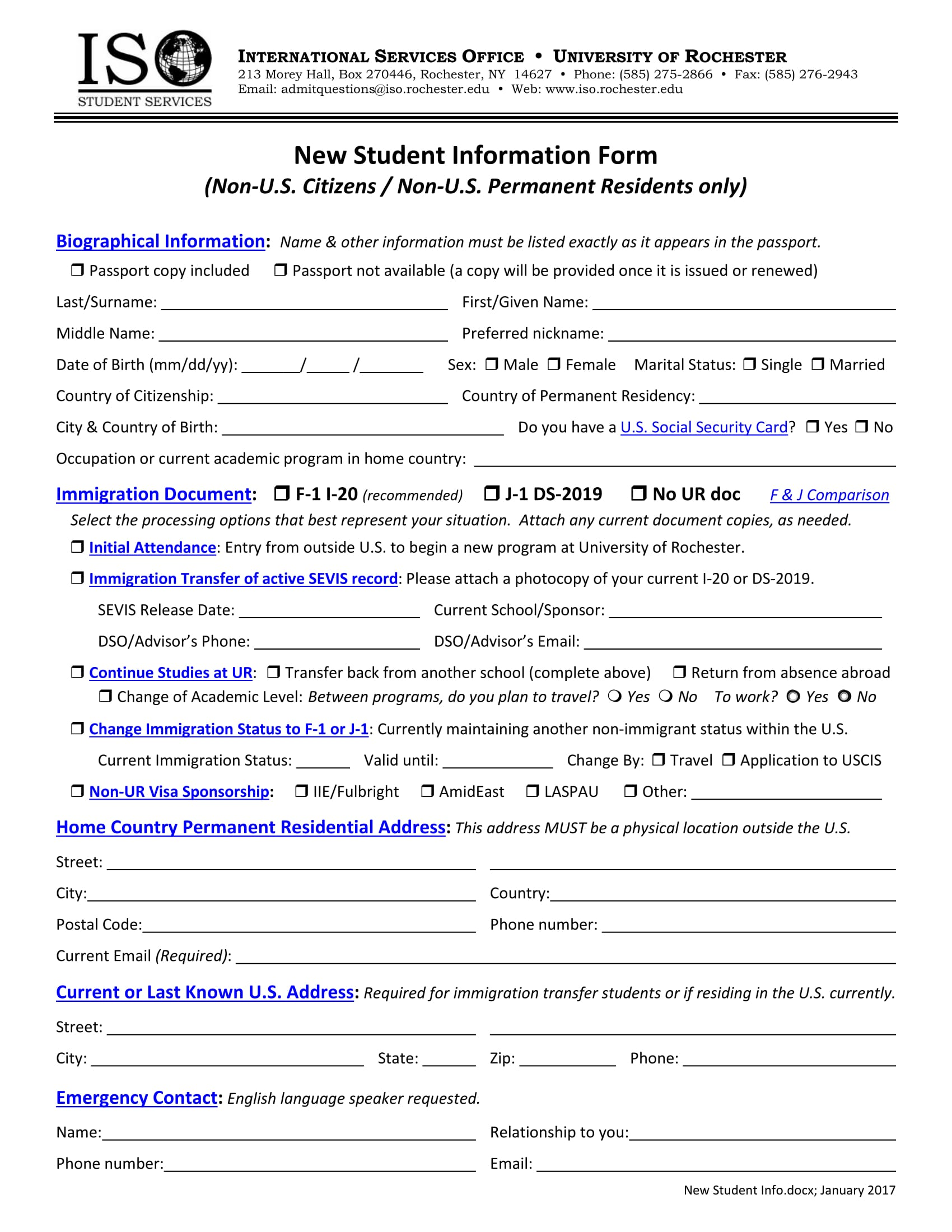 new student information form 1
