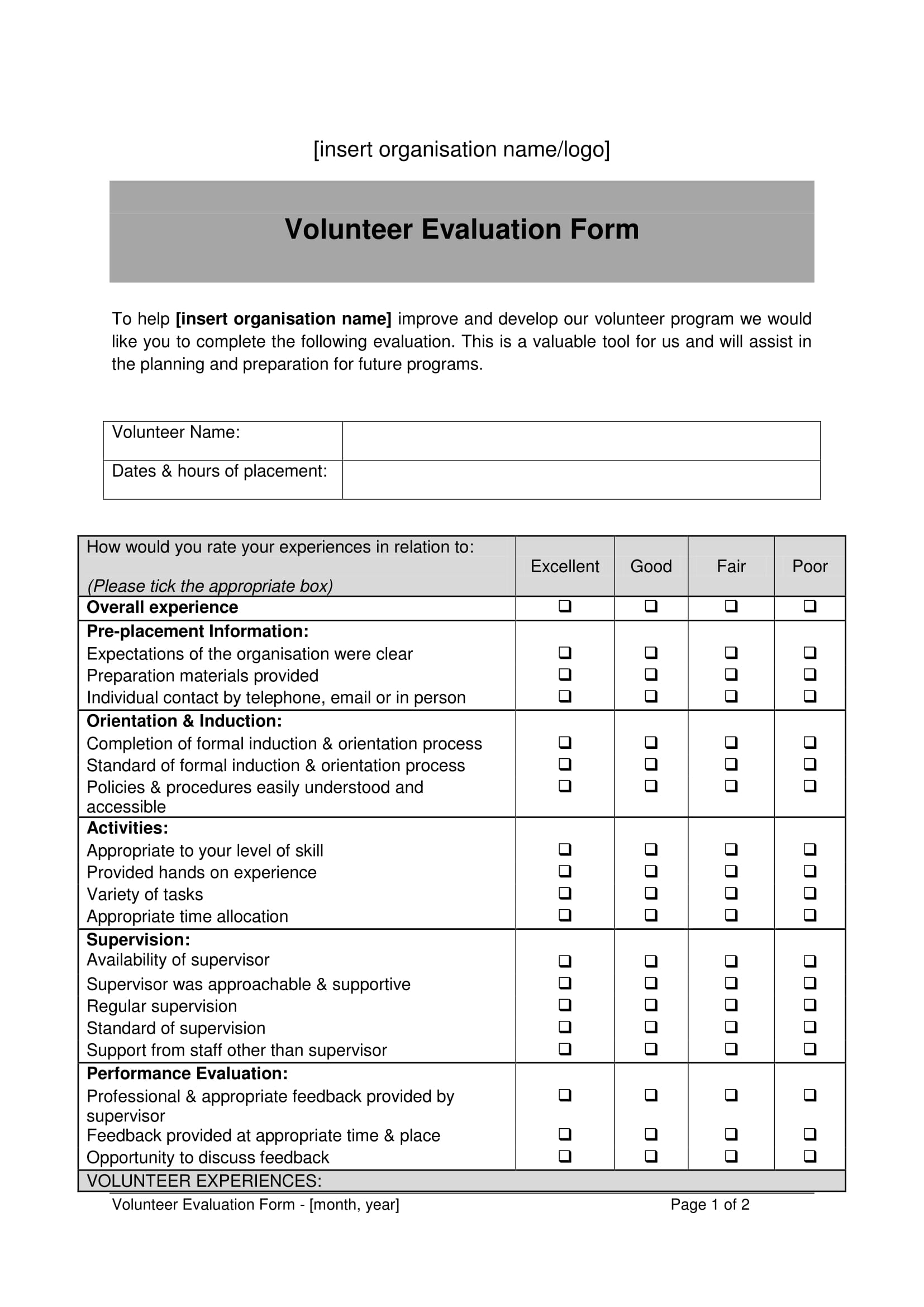 organization volunteer evaluation form 1