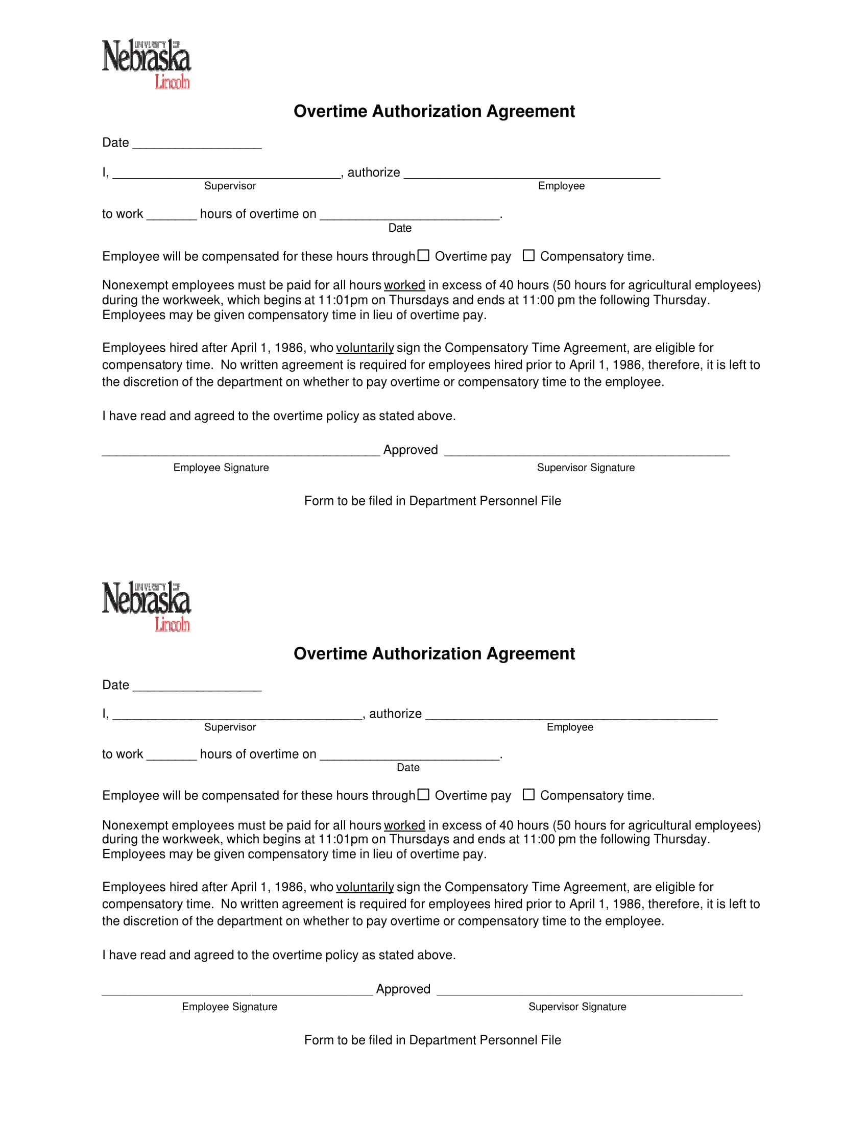 overtime authorization agreement form 1