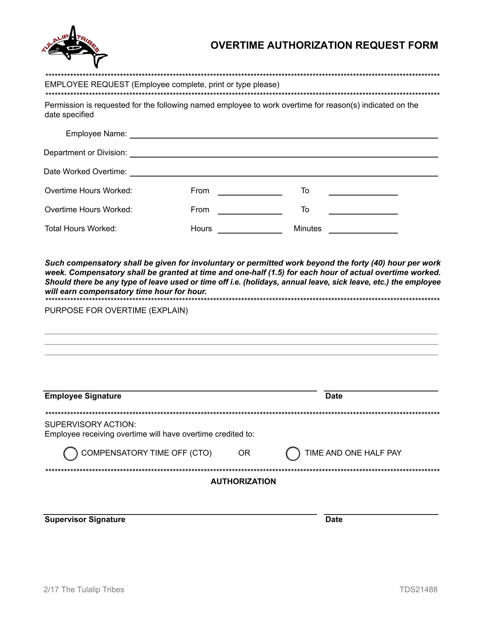 overtime authorization request form 1
