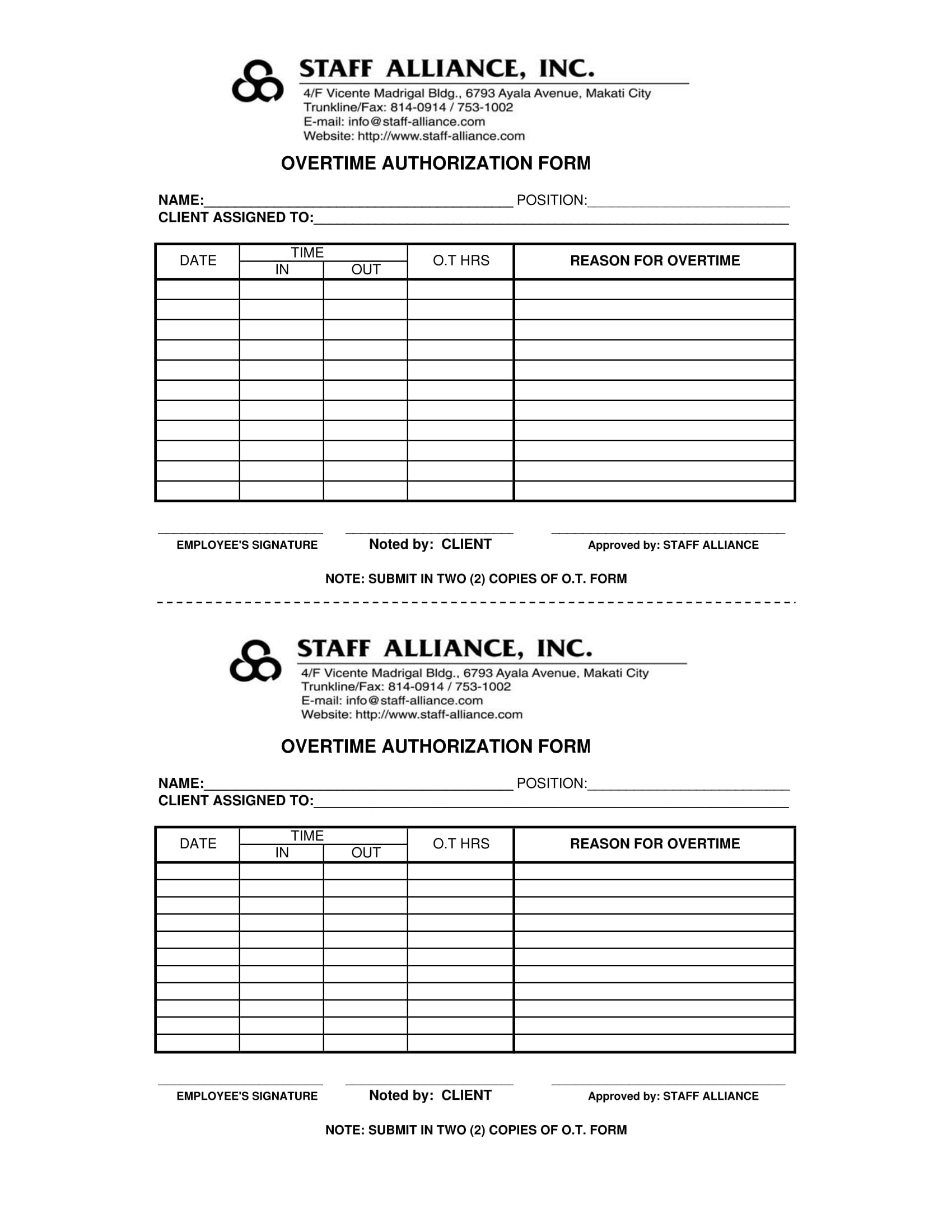 overtime authorization short form 1