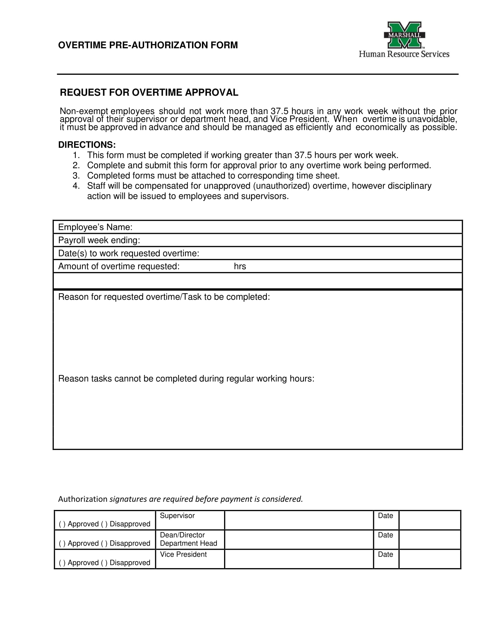 overtime pre authorization form 1