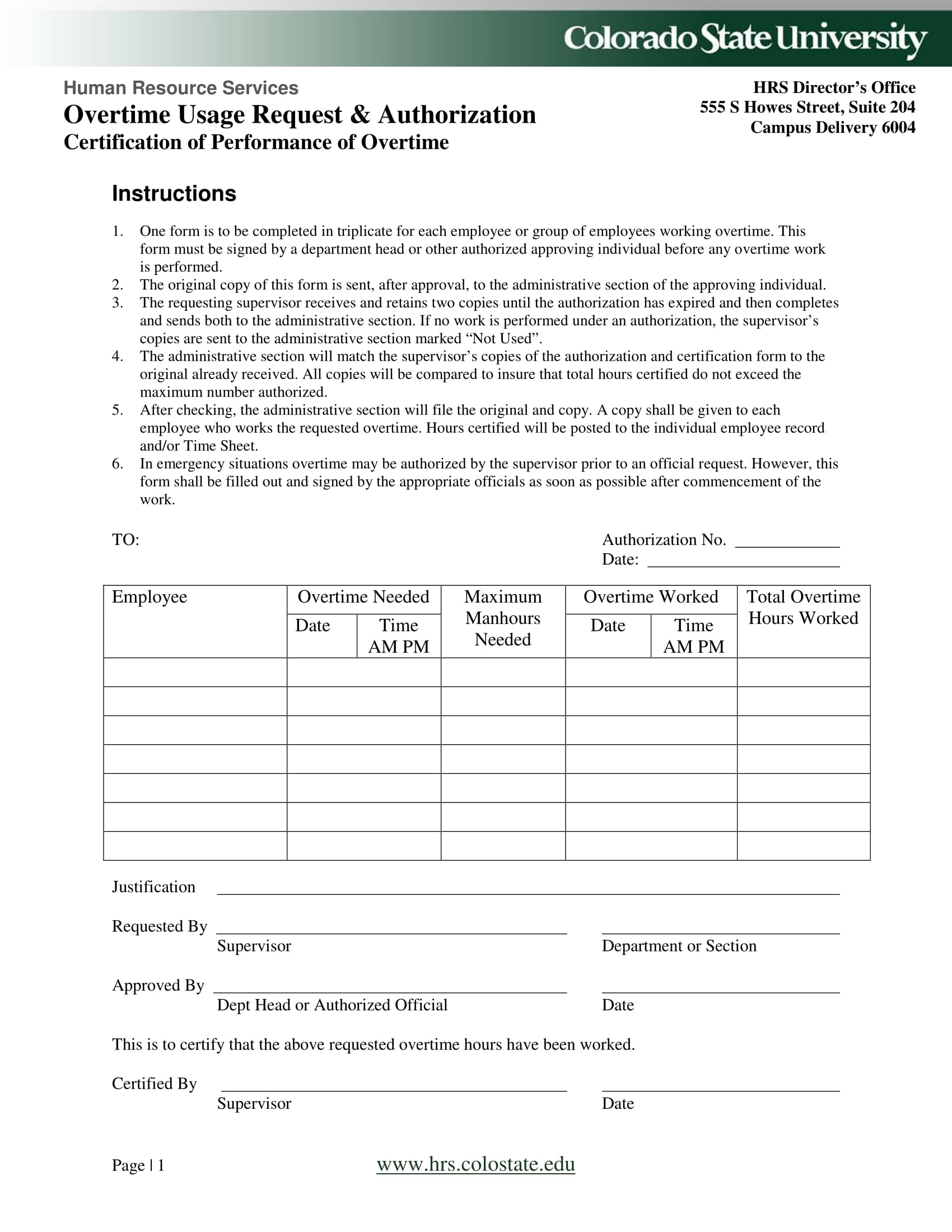 overtime usage request authorization form 1