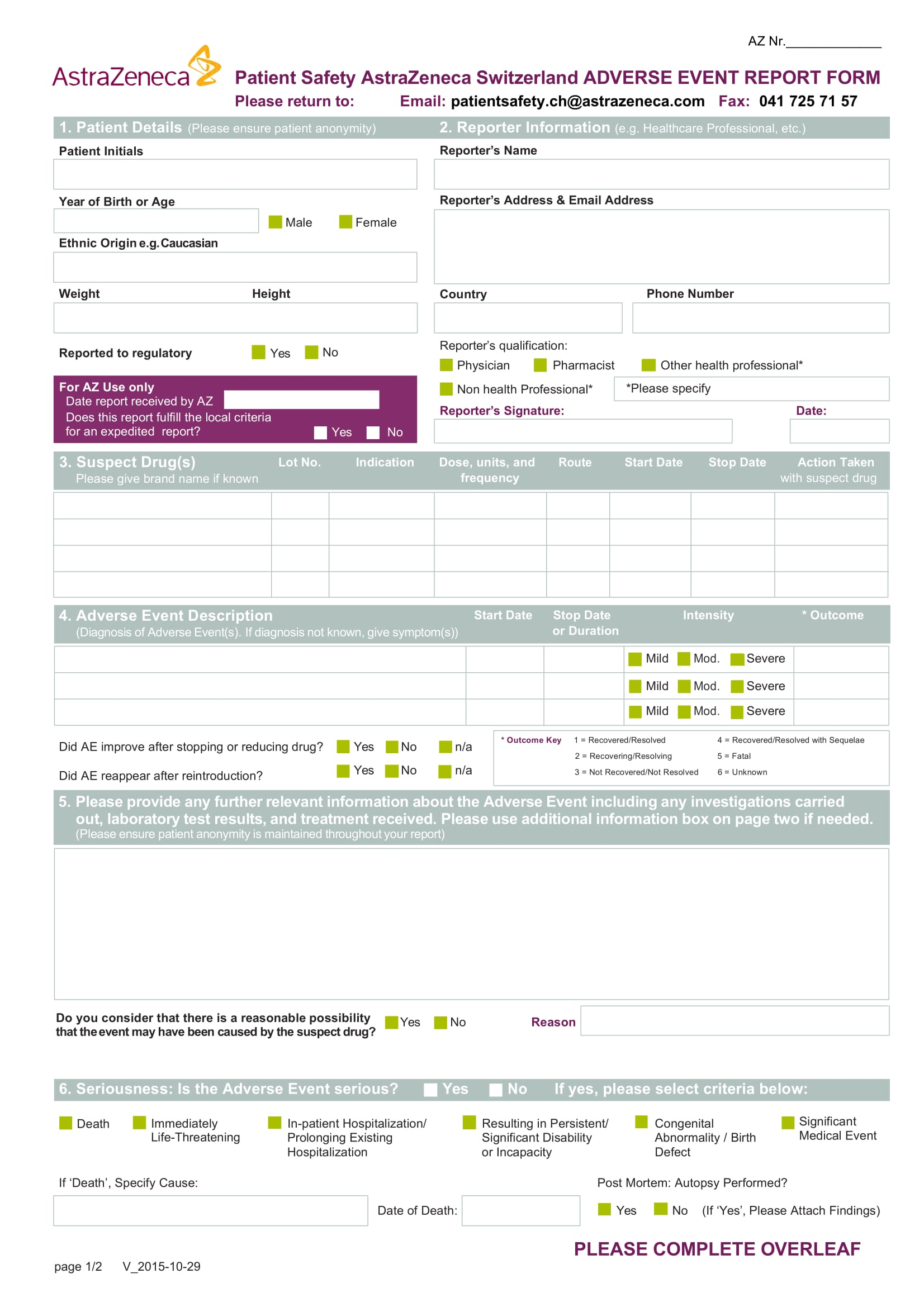 patient's adverse event report form 1