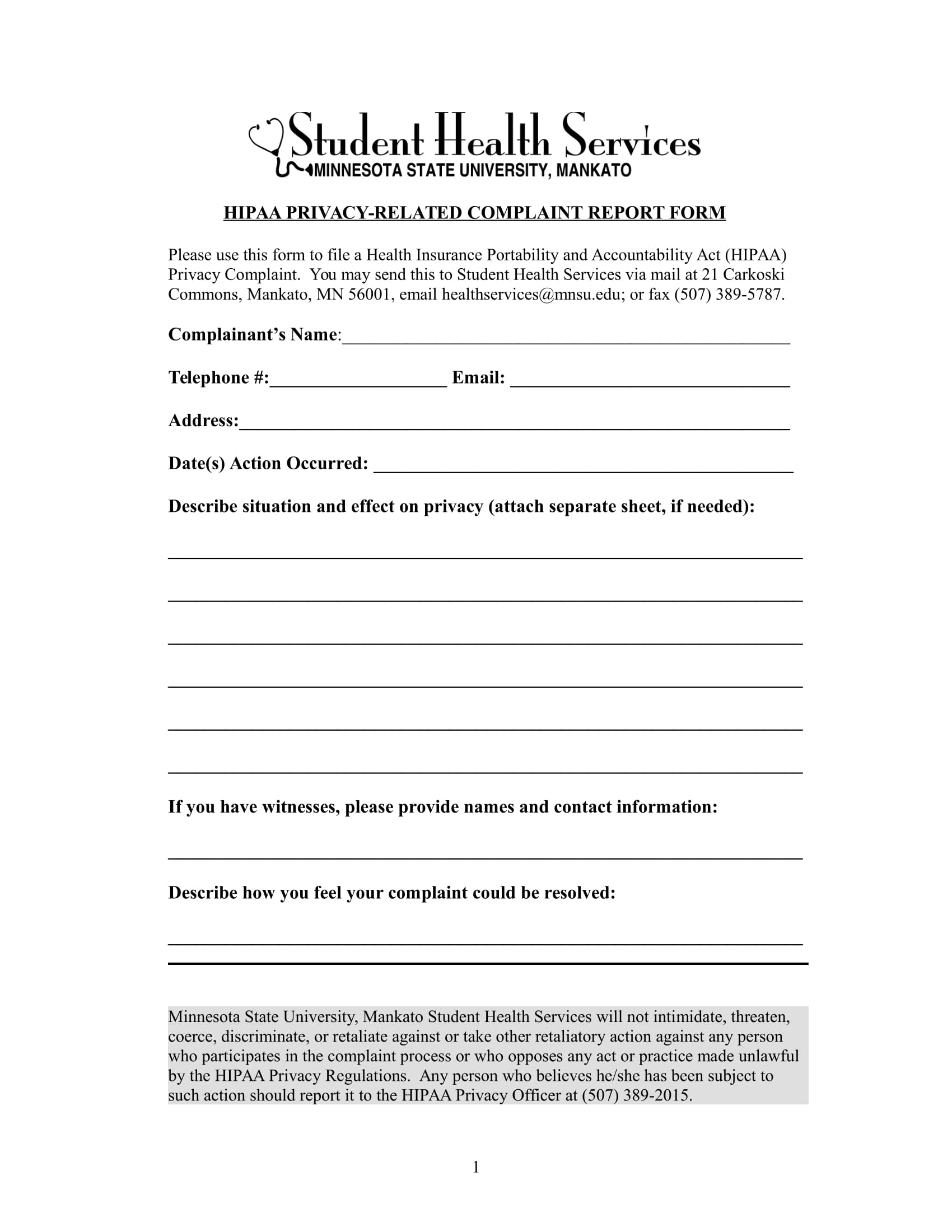Medical incident report form employee medical blank for Patient report form template download