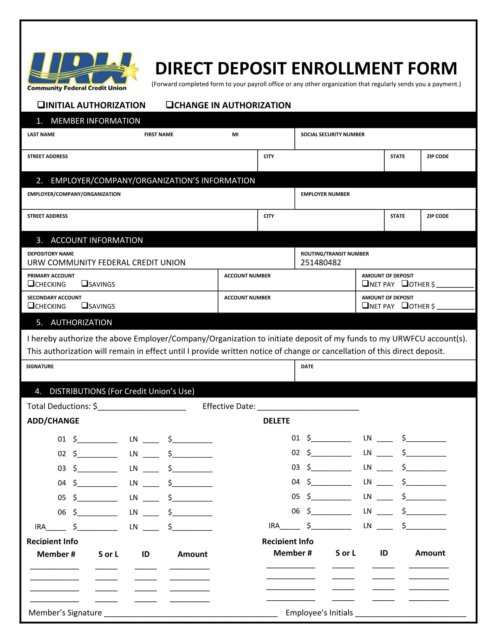 payroll direct deposit enrollment form 1