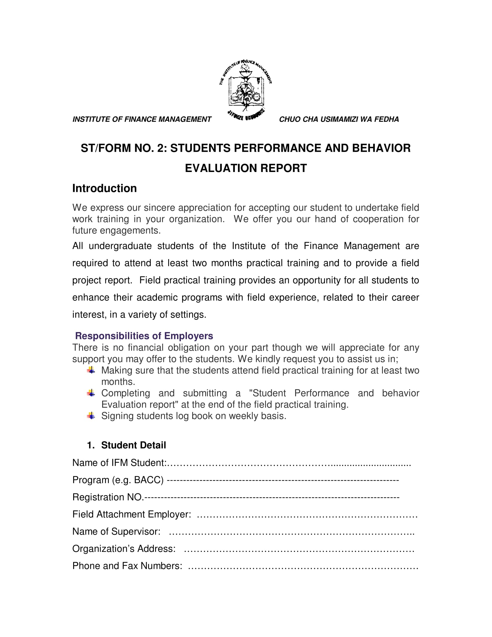 performance and behavior evaluation report 1