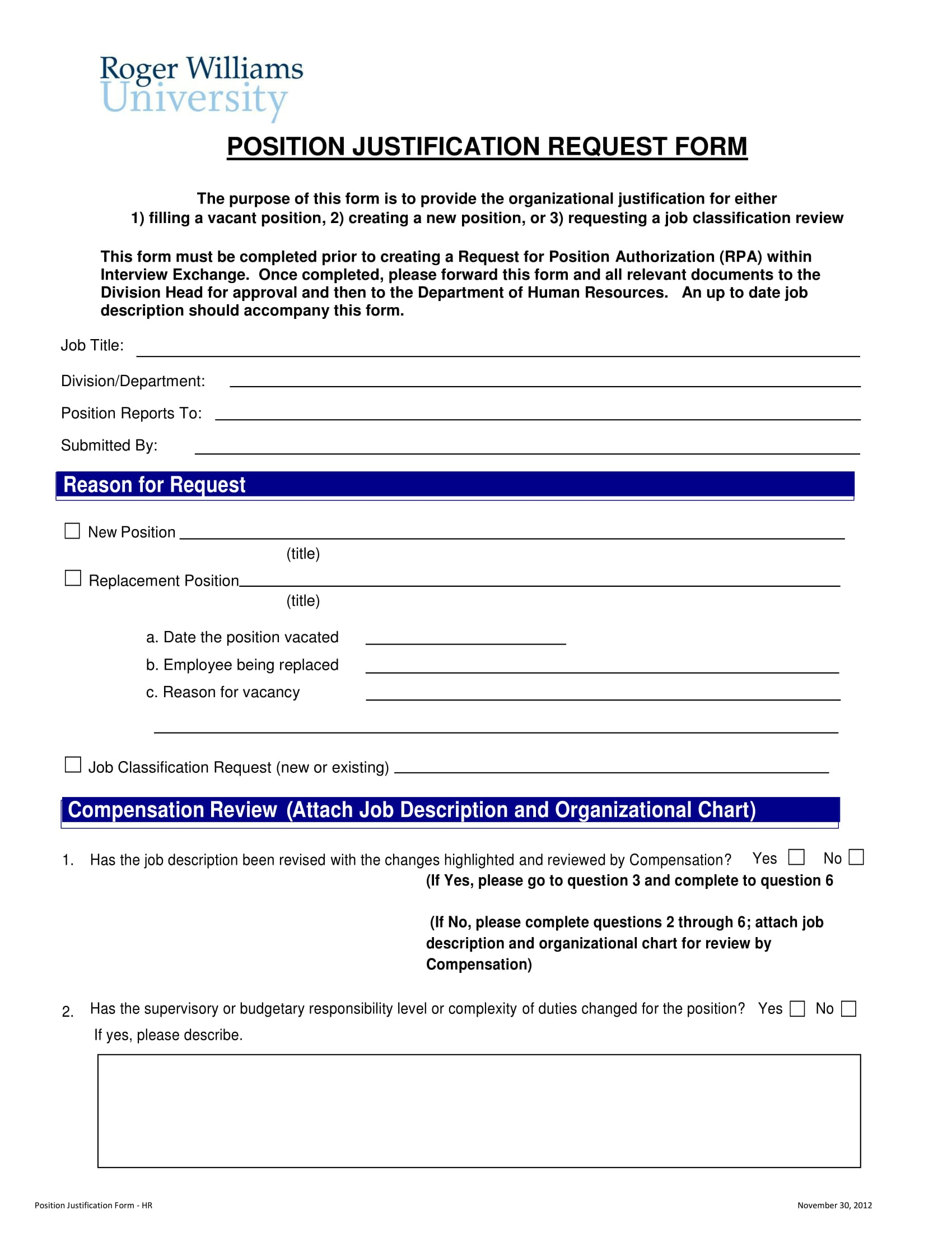 position justification request form 1