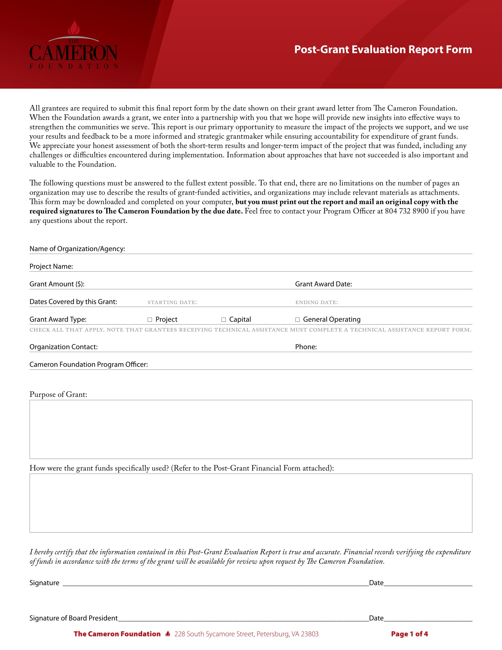 post grant evaluation report form 1