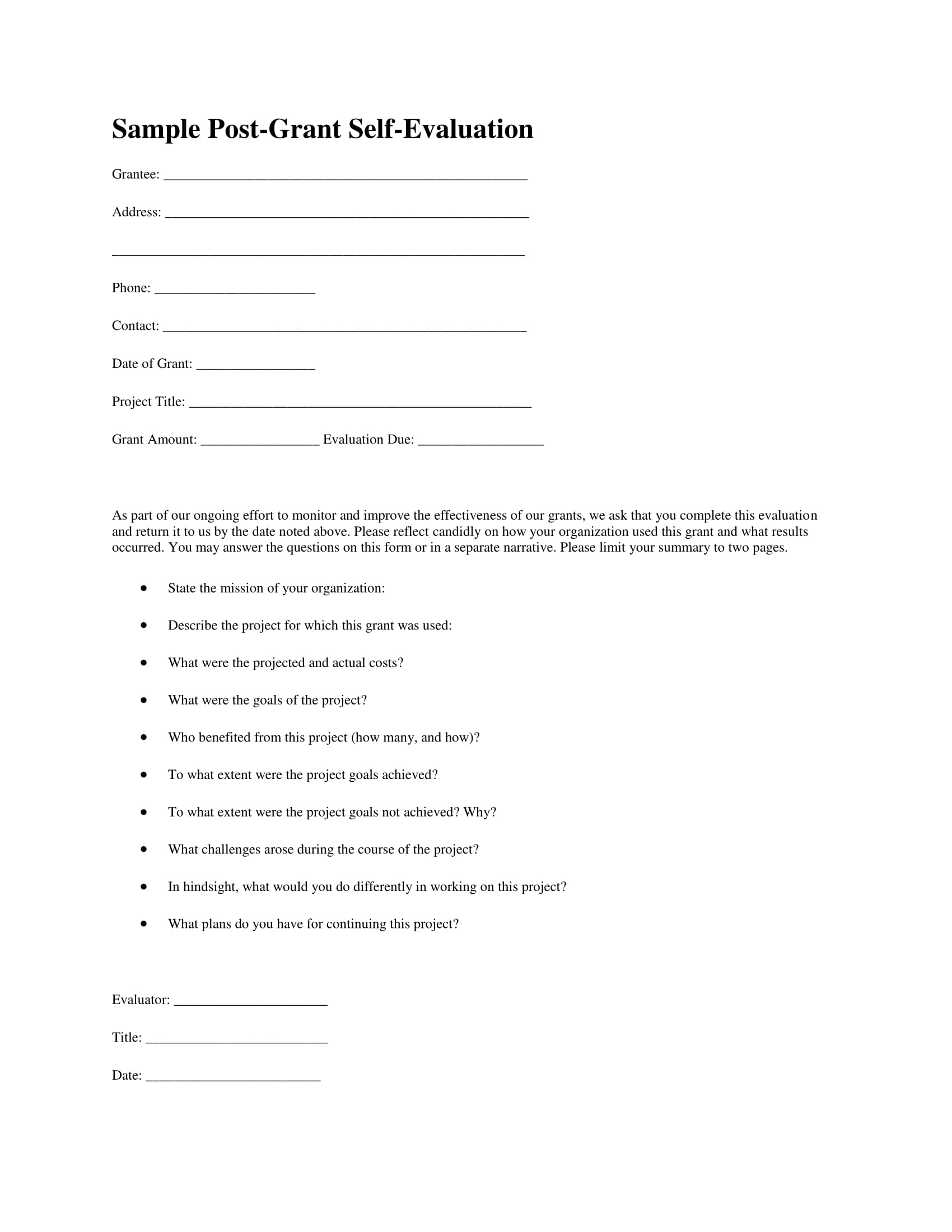 Feedback Forms Template strategic planning officer sample resume – Self Review Template