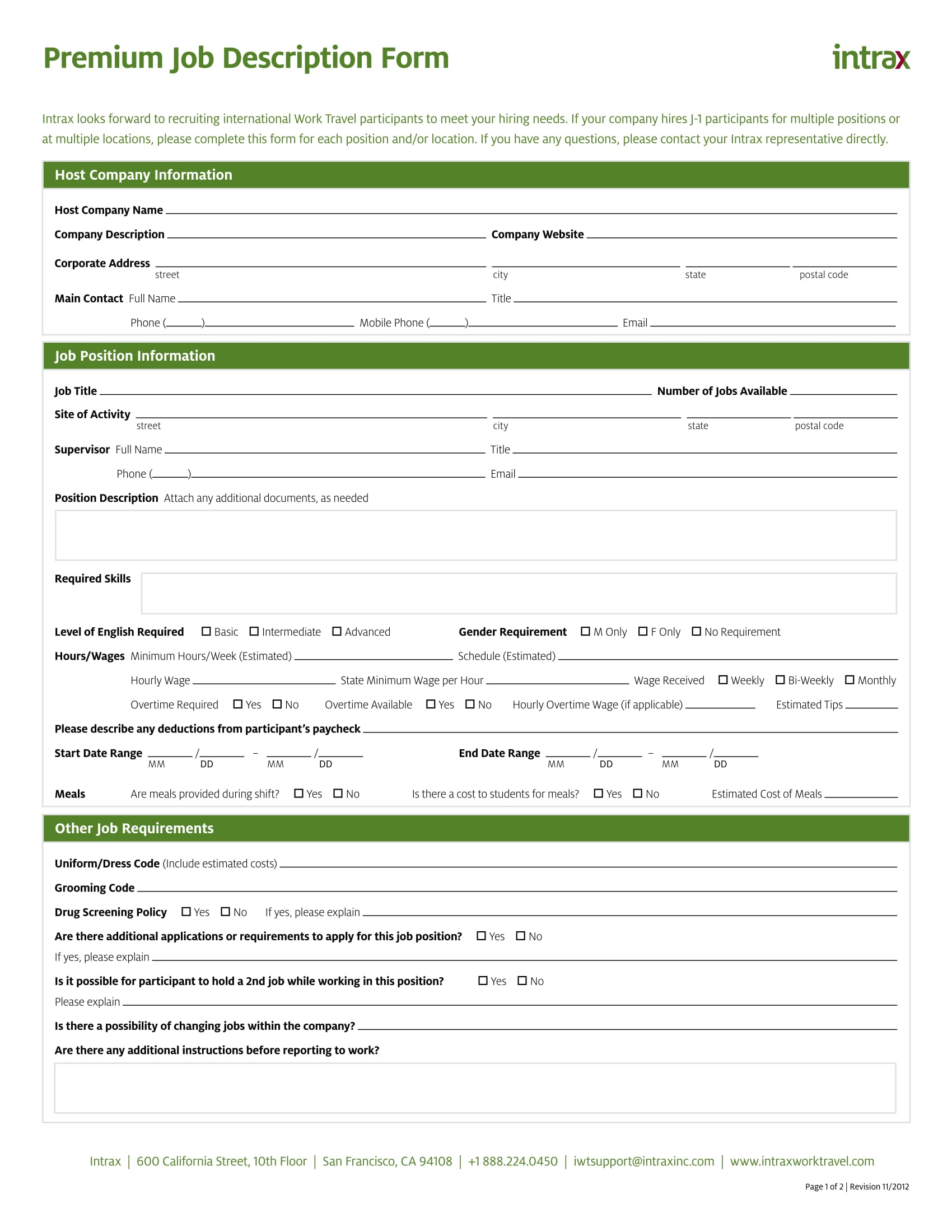 premium job description form 1