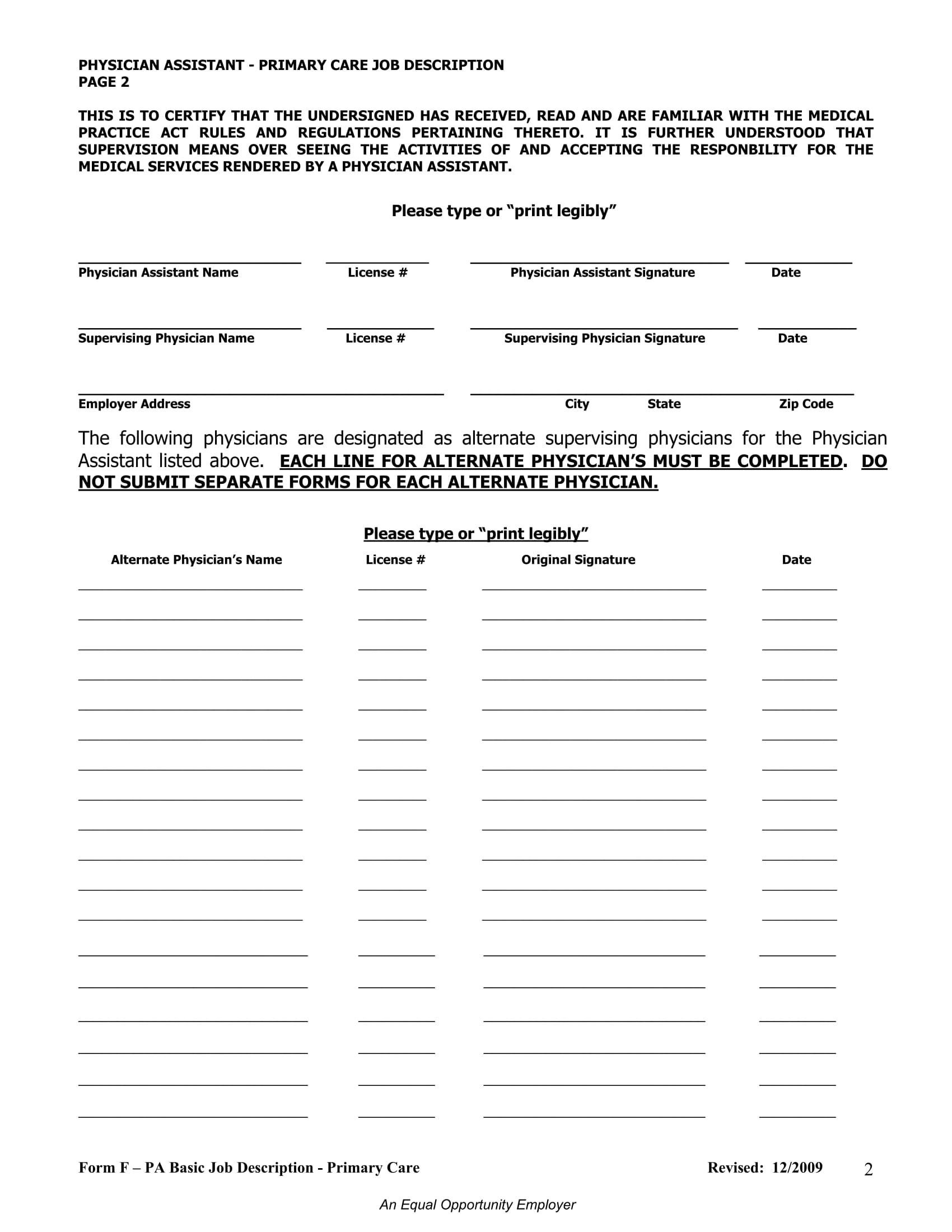 primary care job description form 2