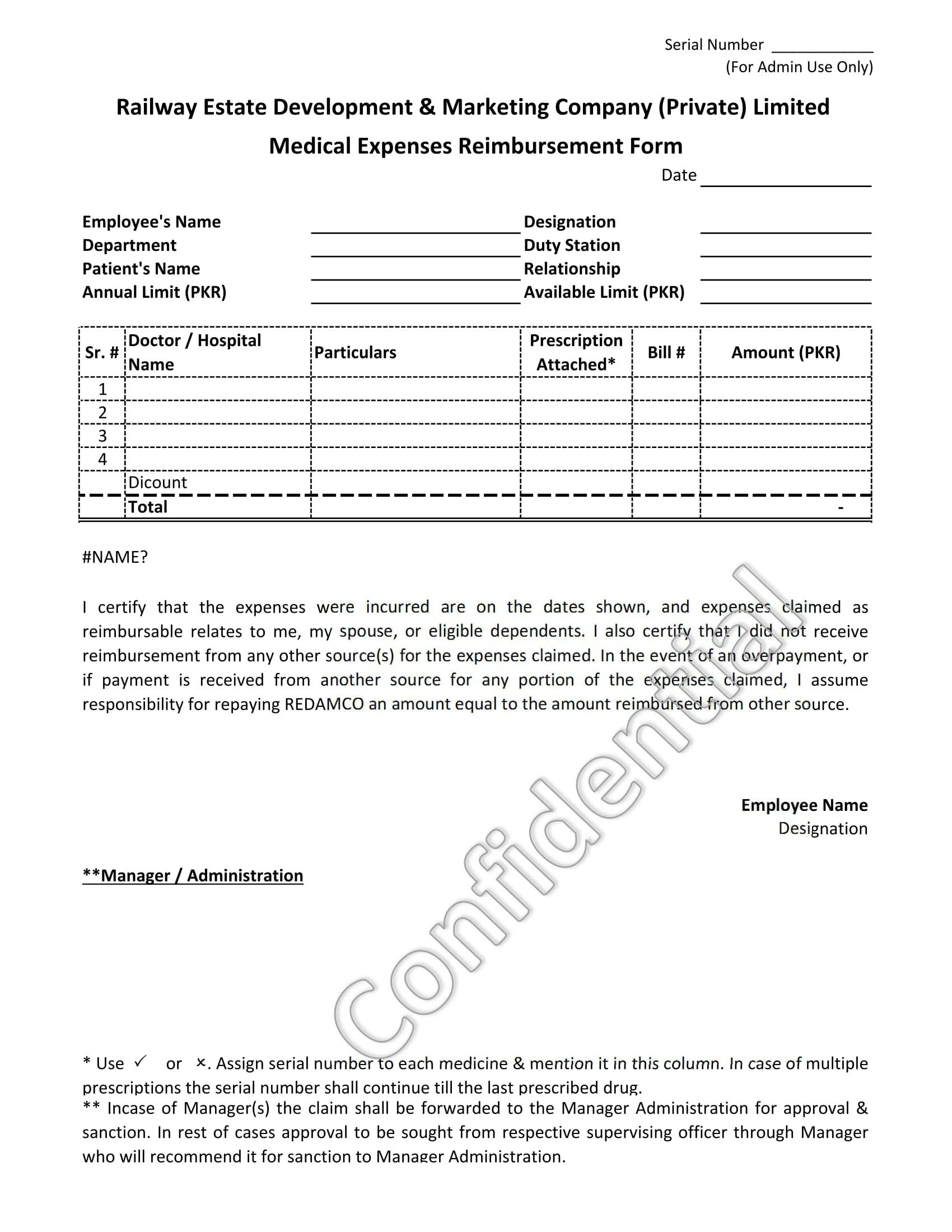 private company medical expenses reimbursement form 1