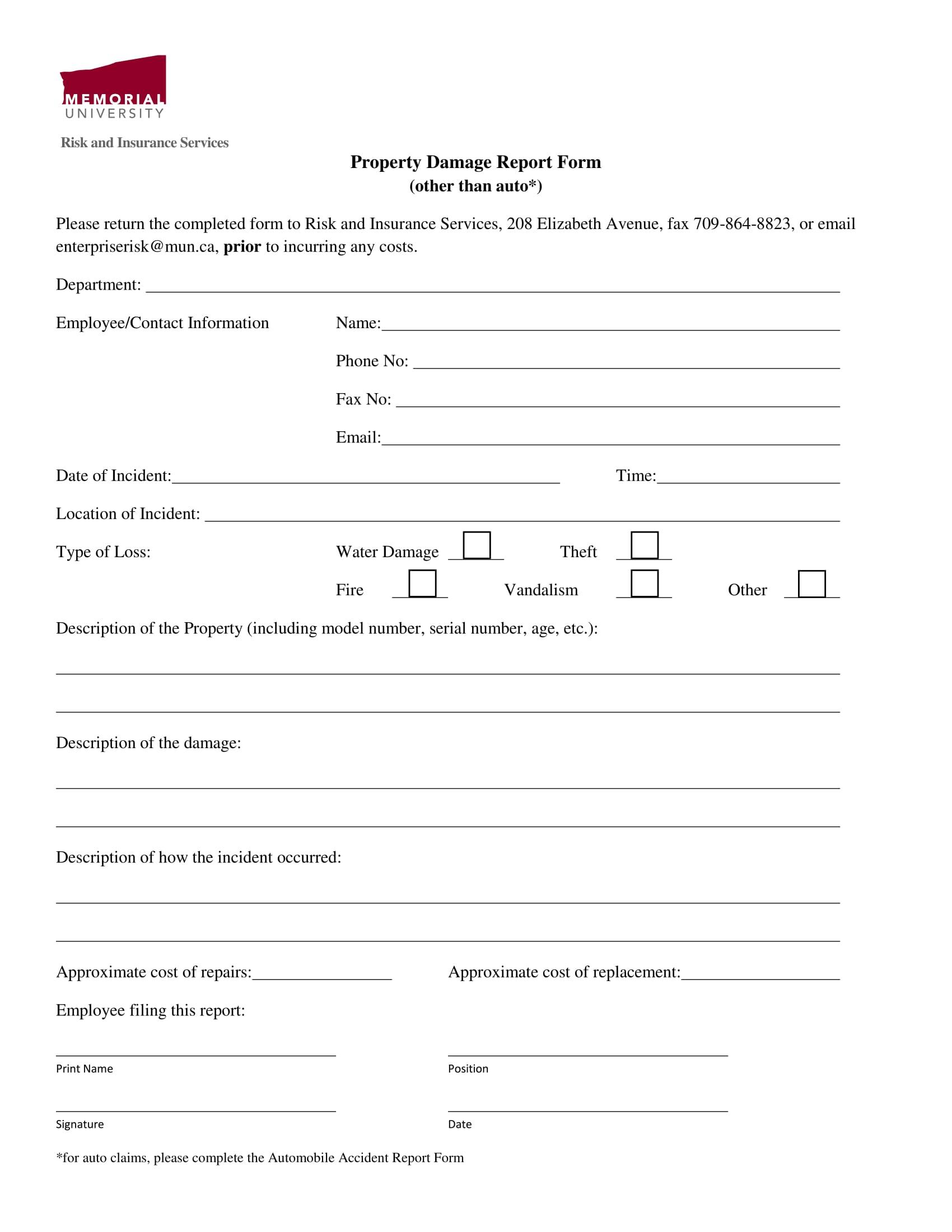 property damage report form 1