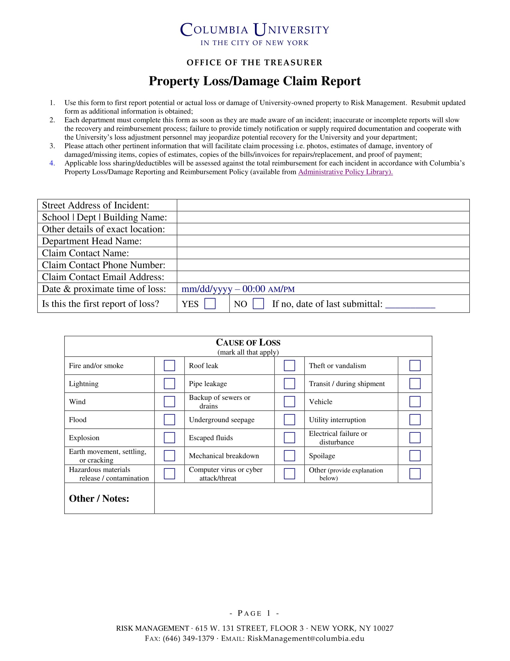 property loss or damage claim report 1