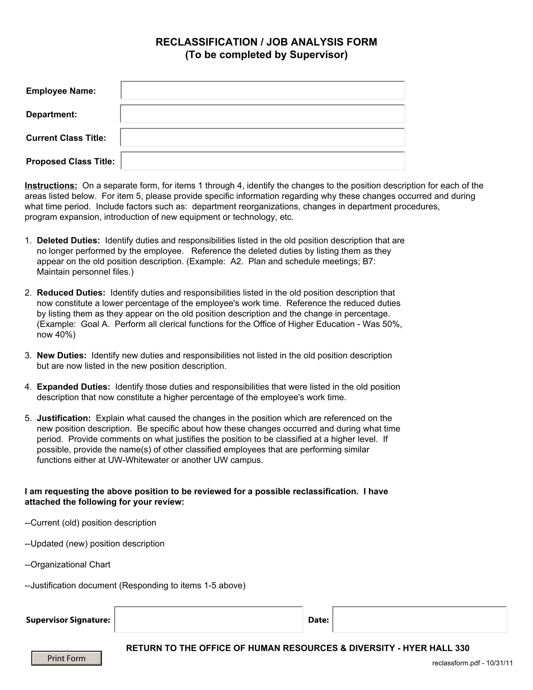 reclassification job analysis form 1