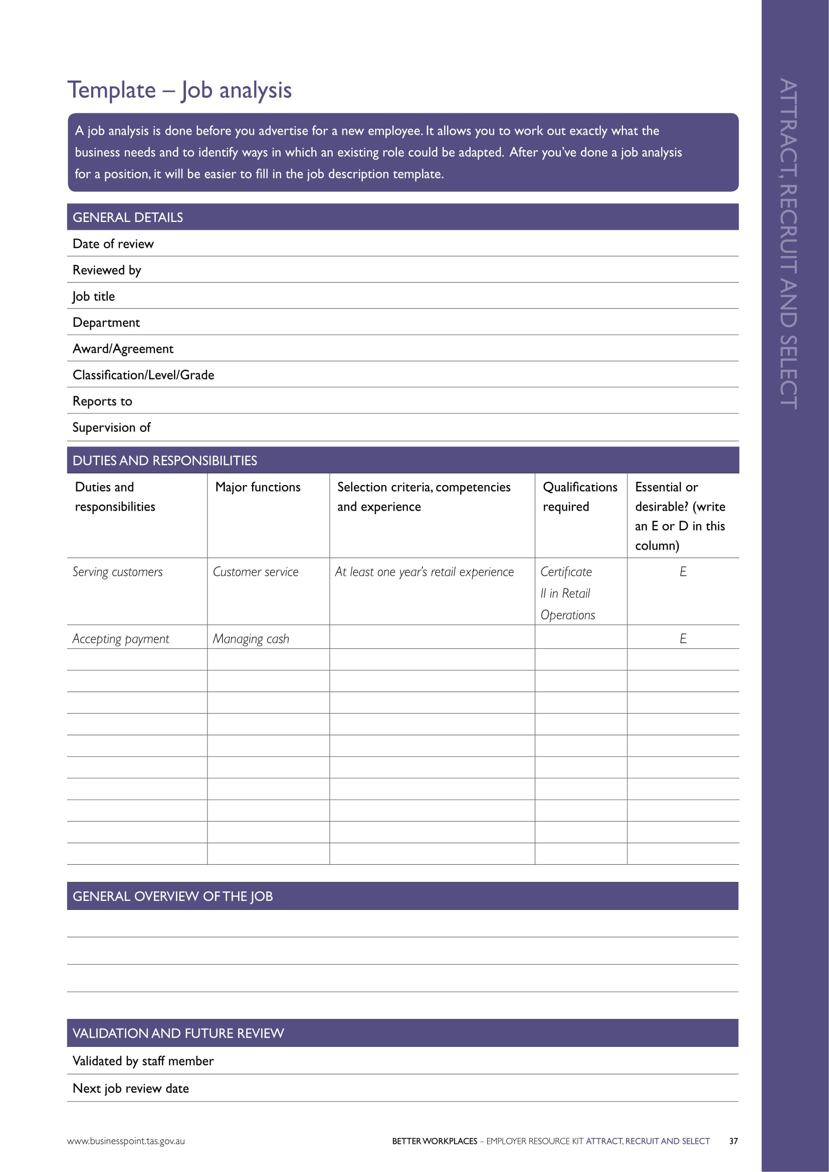 recruitment job analysis form 1