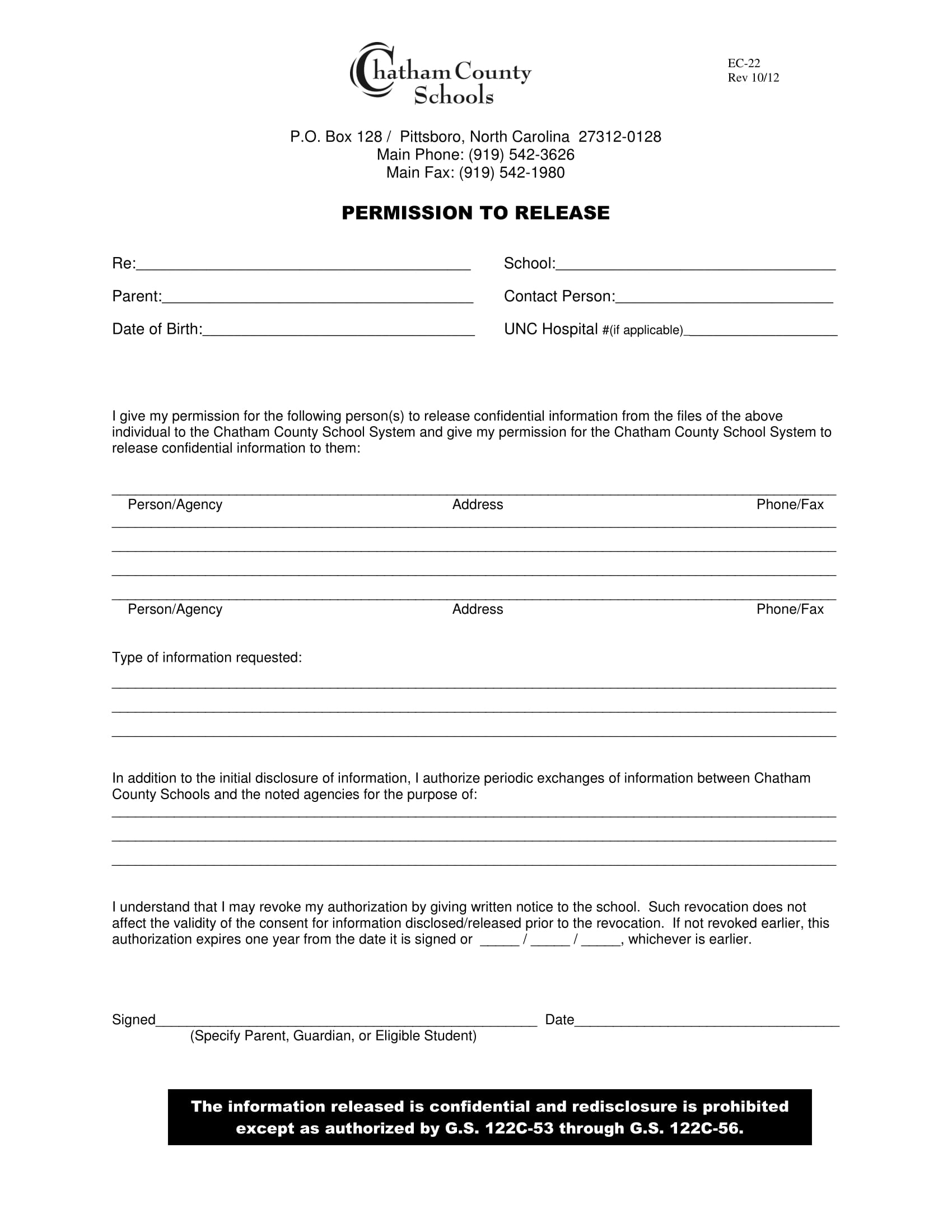release of student information form 1