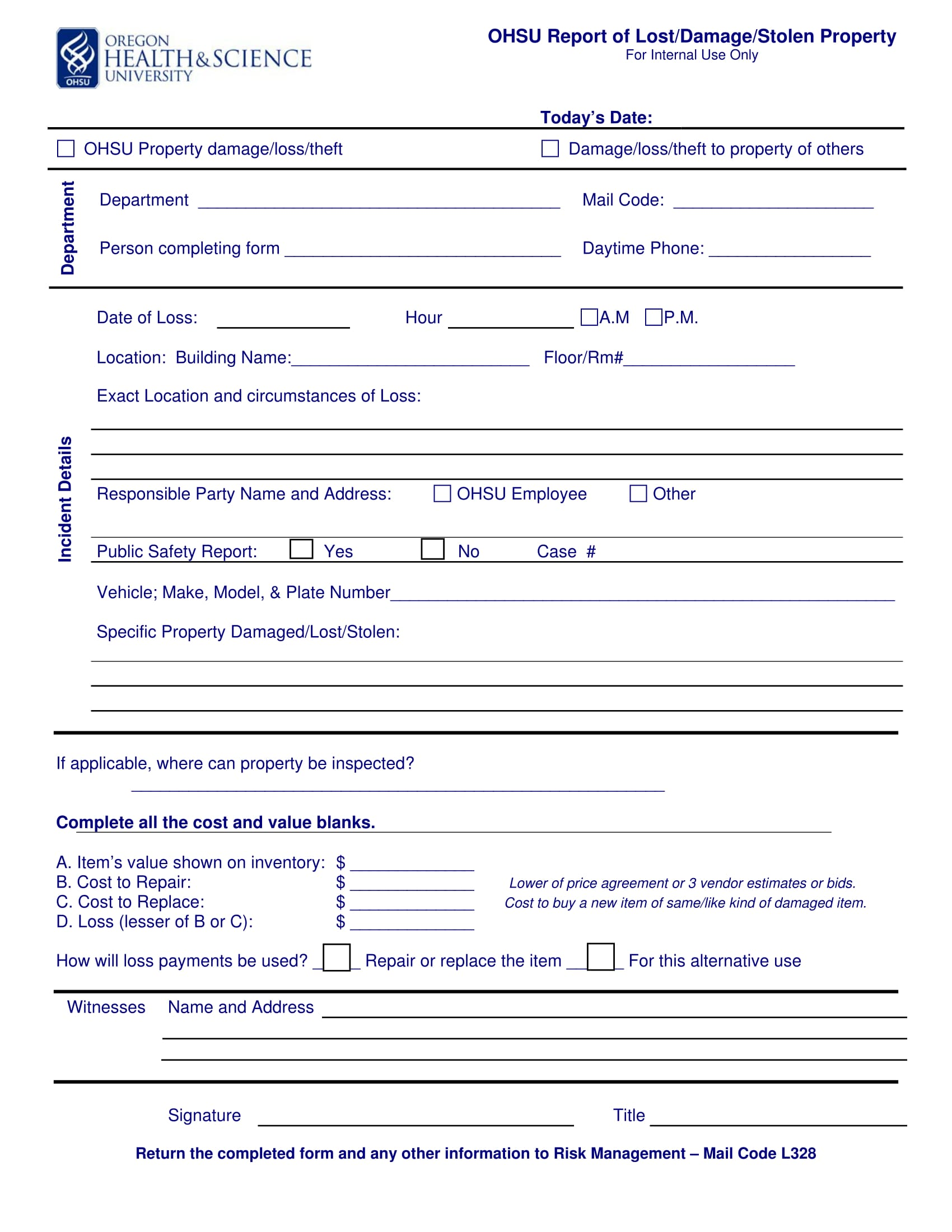 report form for damage or stolen property 1