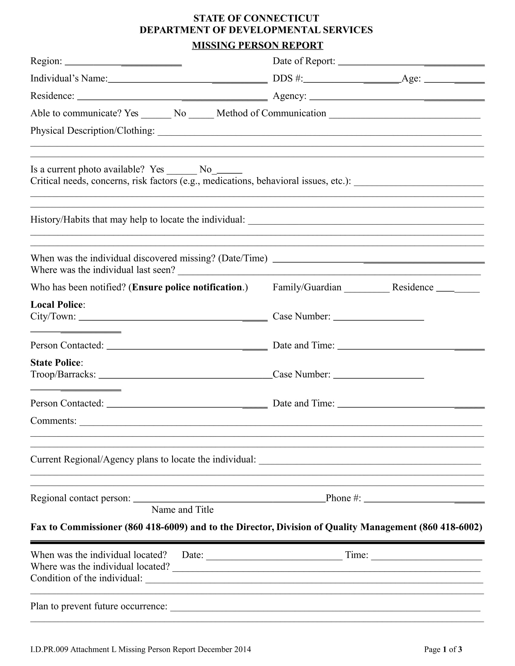 report form for missing person 1