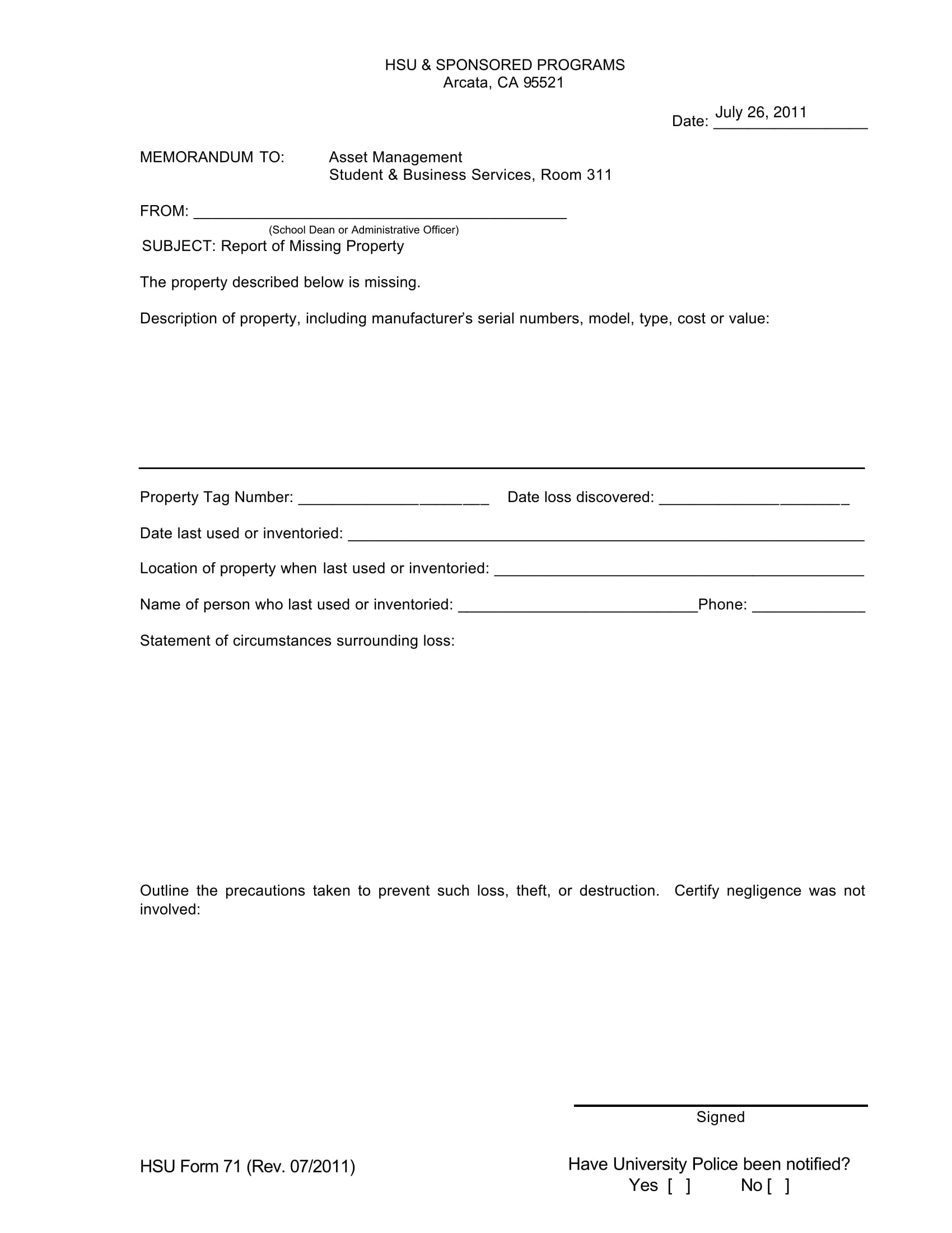 report of missing property form 1